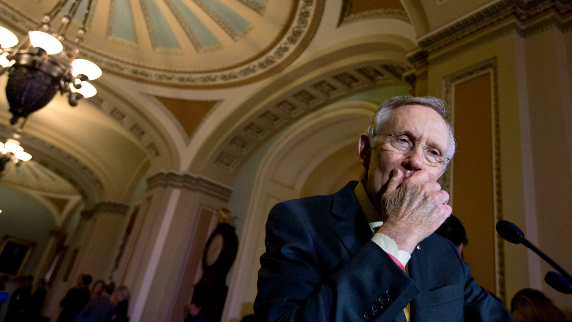 Dec. 4, 2012: Senate Majority Leader Harry Reid of Nev. pausing during his news conference on Capitol Hill in Washington.