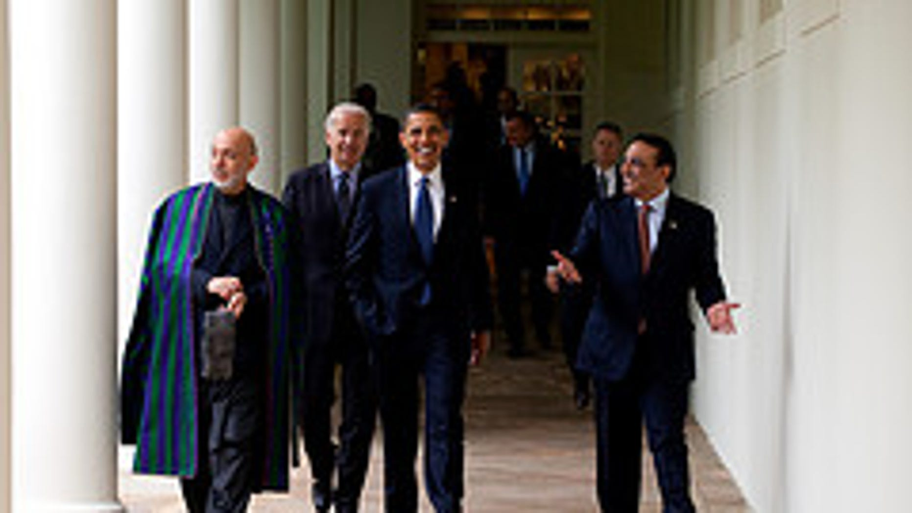 Presidents Obama, Karzai and Zardari, share a moment with Vice President Biden
