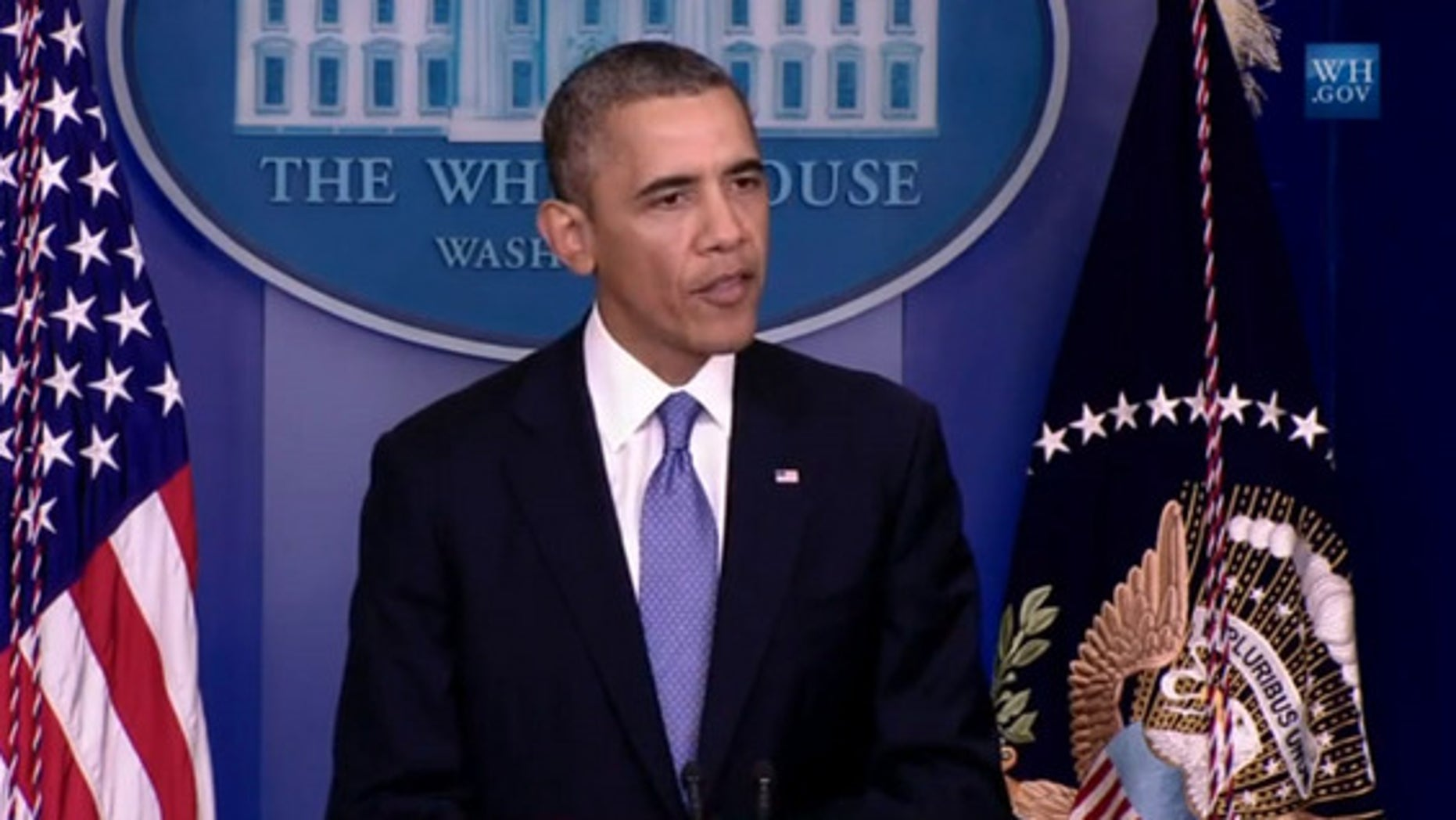 U.S. President Barack Obama gives a statement to reporters on Sept. 29, 2013 to discuss the government shutdown of Oct. 1, which will shut down much of NASA.