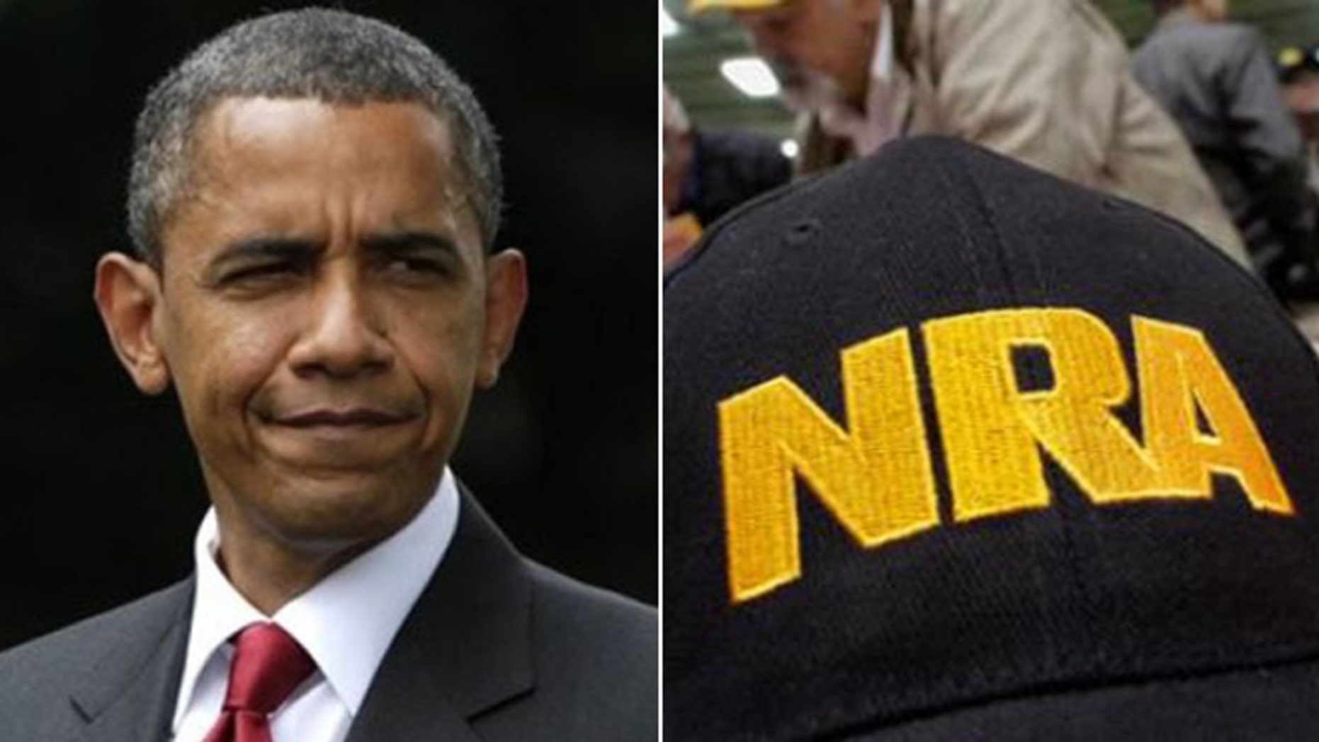 President Barack Obama and memorabilia from the National Rifle Association are shown in this composite.