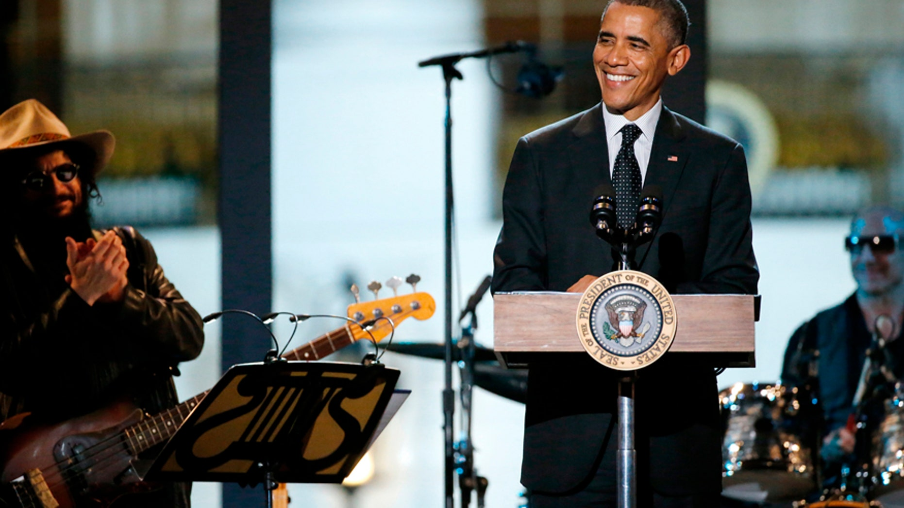 "U.S. President Barack Obama introduces a performance at the ""In Performance at the White House"" series at the White House in Washington November 6, 2014."