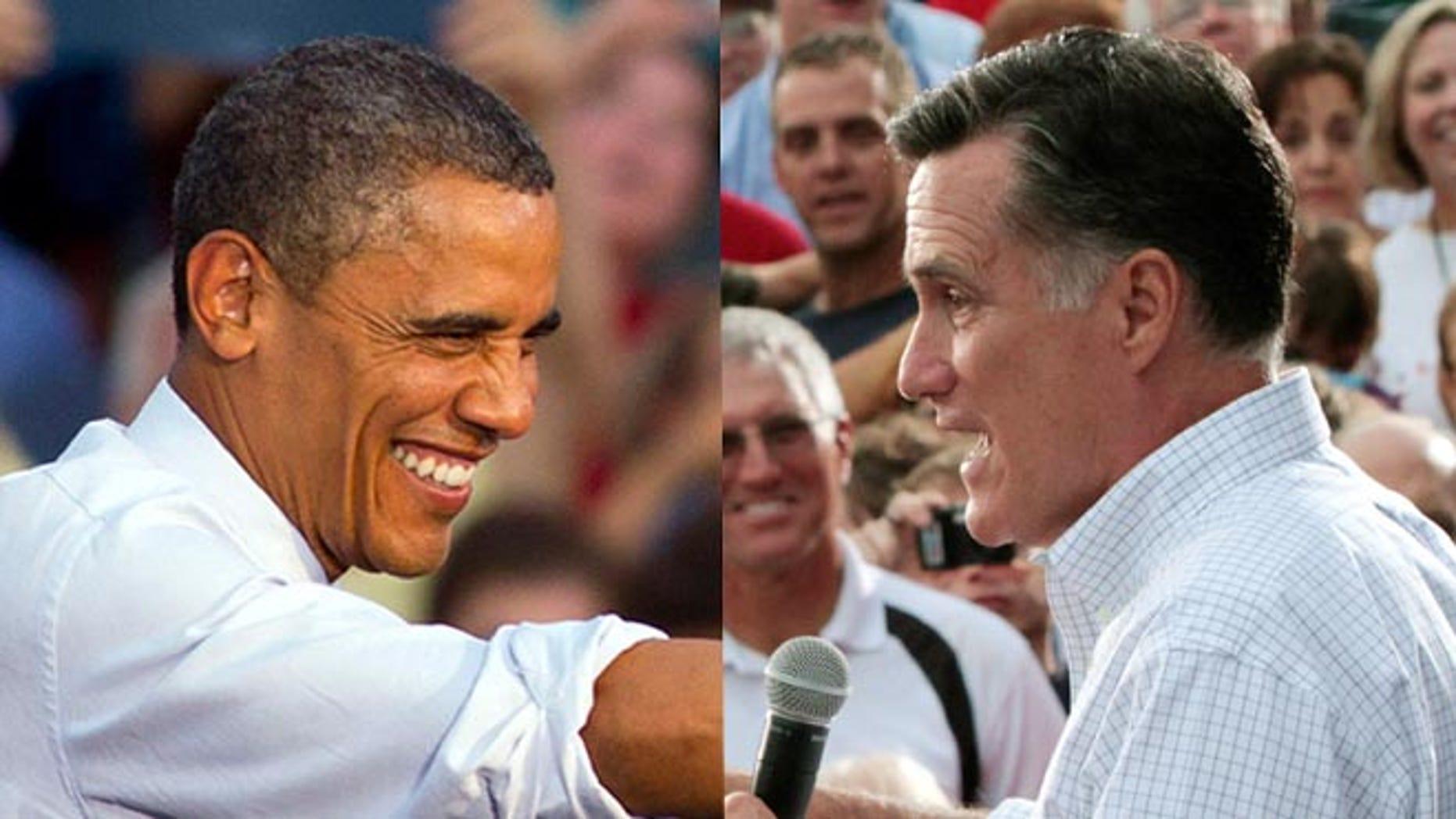 En estas fotos de archivo de agosto de 2012, el presidente Barack Obama y el candidato presidencial republicano y ex gobernador de Massachusetts Mitt Romney, a la derecha, hacen campaña en estados disputados, Obama in Leesburg, Virginia, y Romney en Waukesha, Wisconsin. El reto para Obama y Romney es conquistar a los votantes indecisos. (AP fotos)