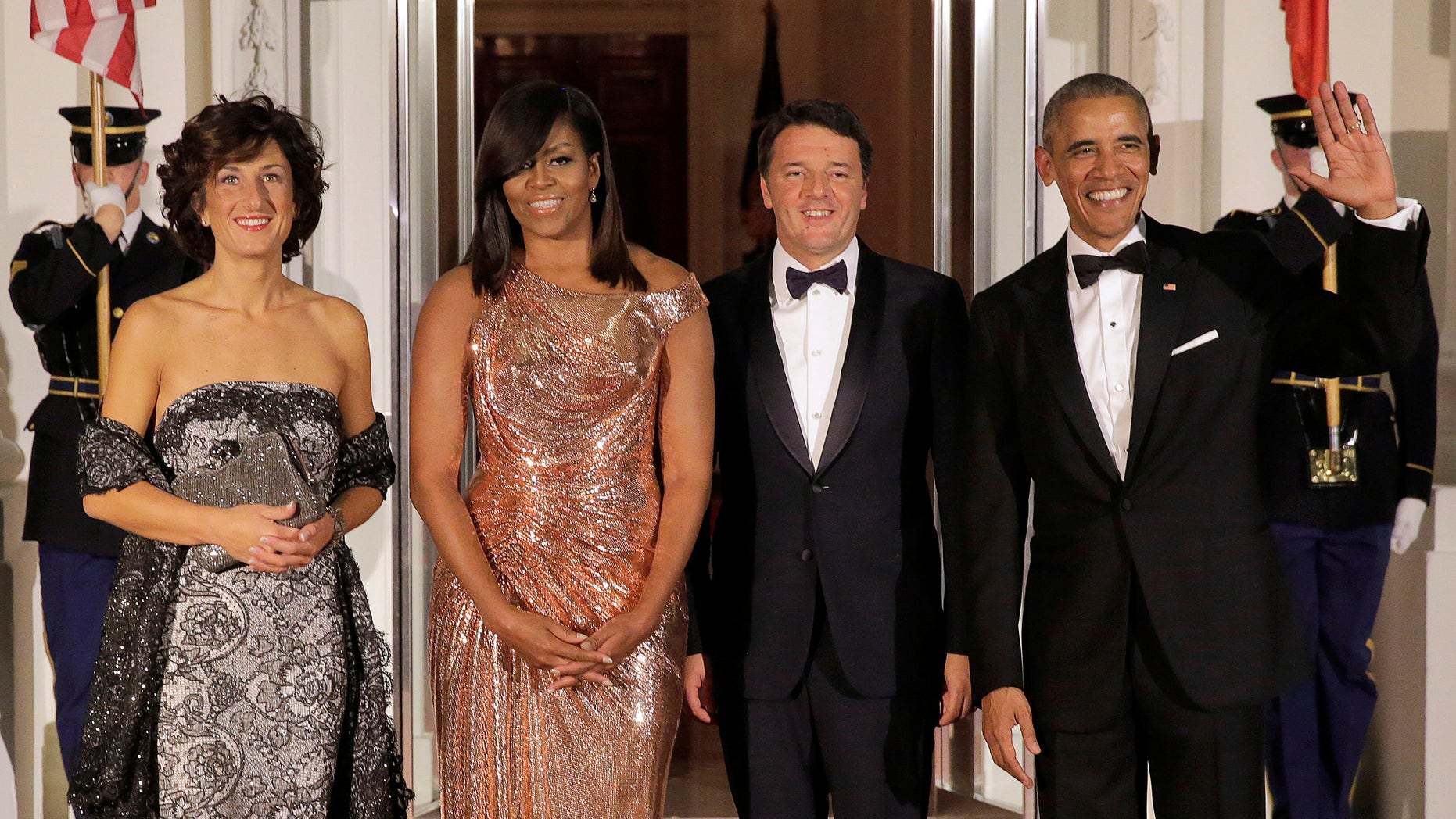 President Barack Obama and First Lady Michelle Obama at their final state dinner with the Italian prime minister and his wife