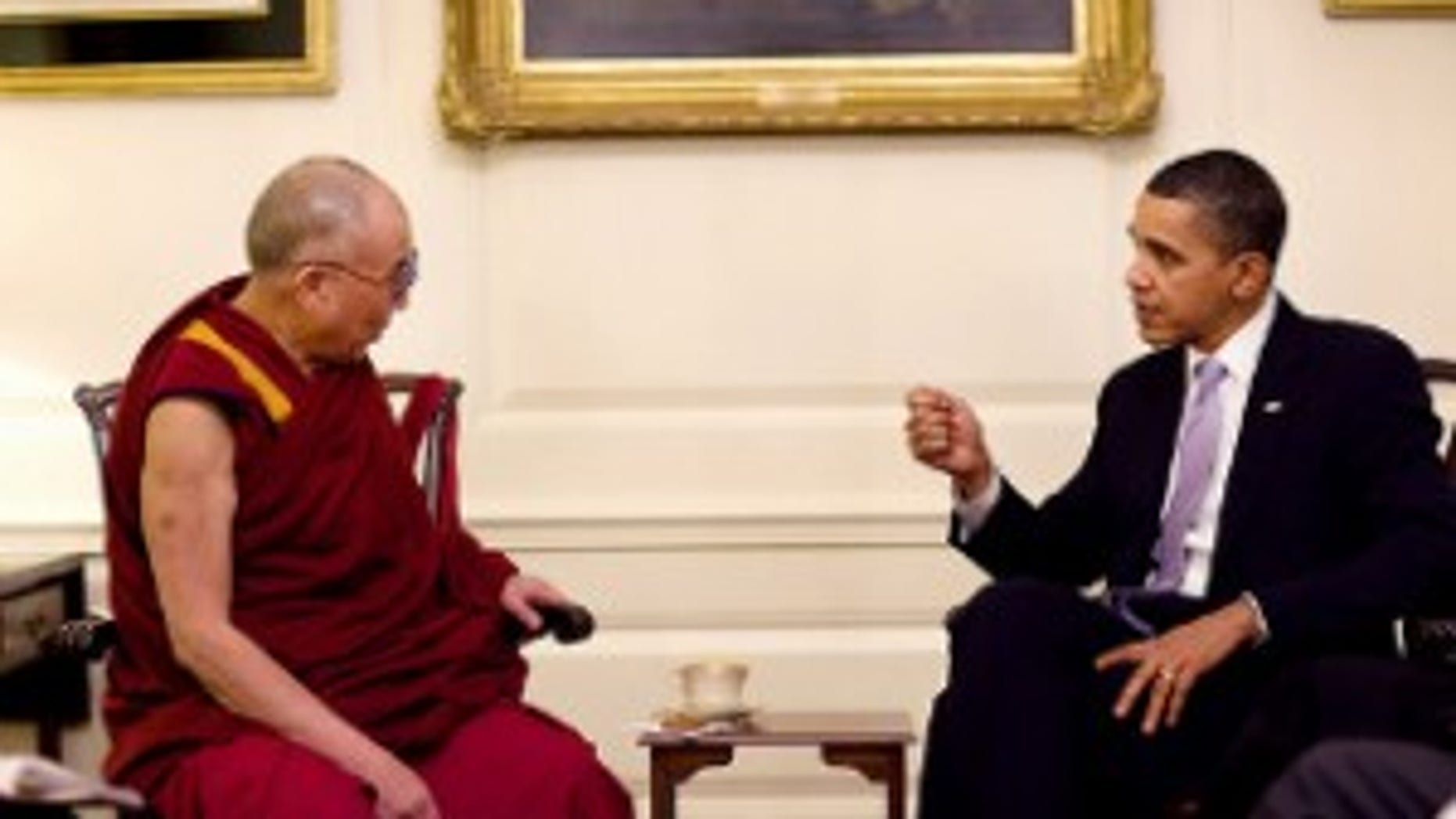President Obama meets with the Dalai Lama. White House Photo.