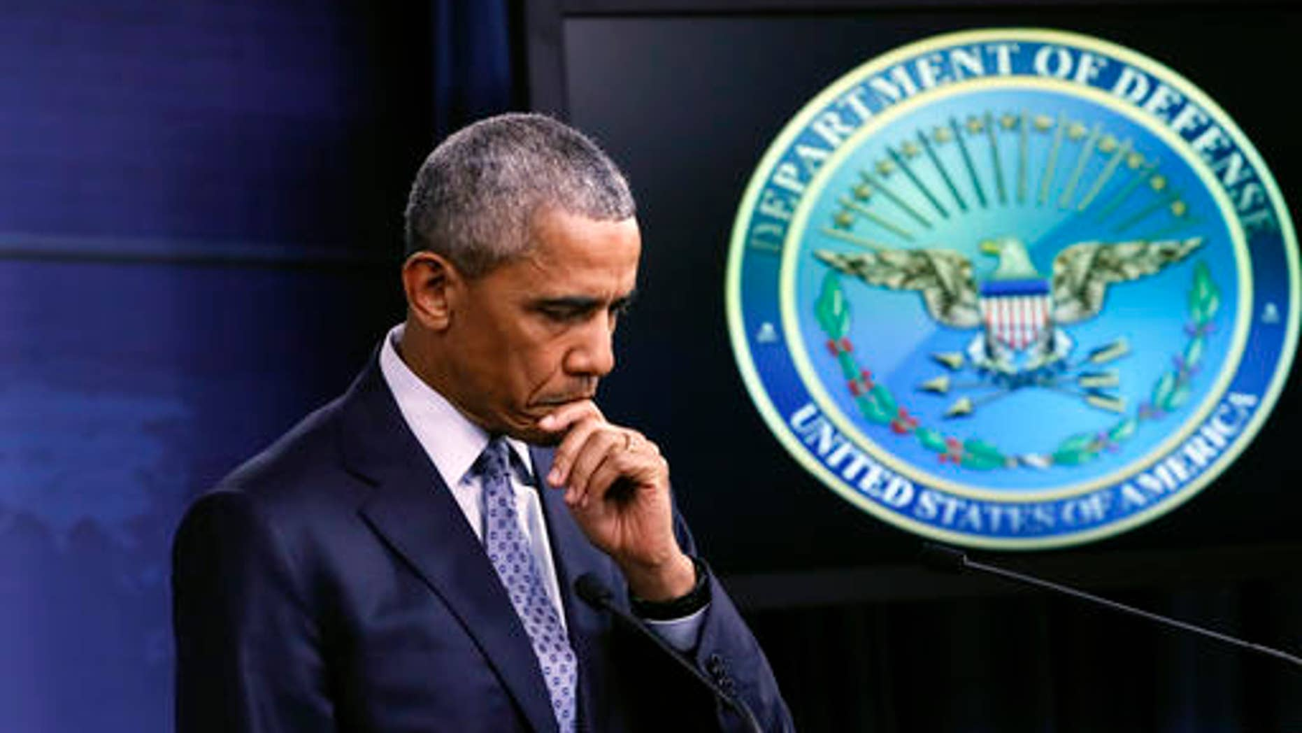 President Obama pauses during talk about the war on terrorism and efforts to degrade and destroy the Islamic State group, during a news conference at the Pentagon in Washington, D.C., on Aug. 4, 2016.