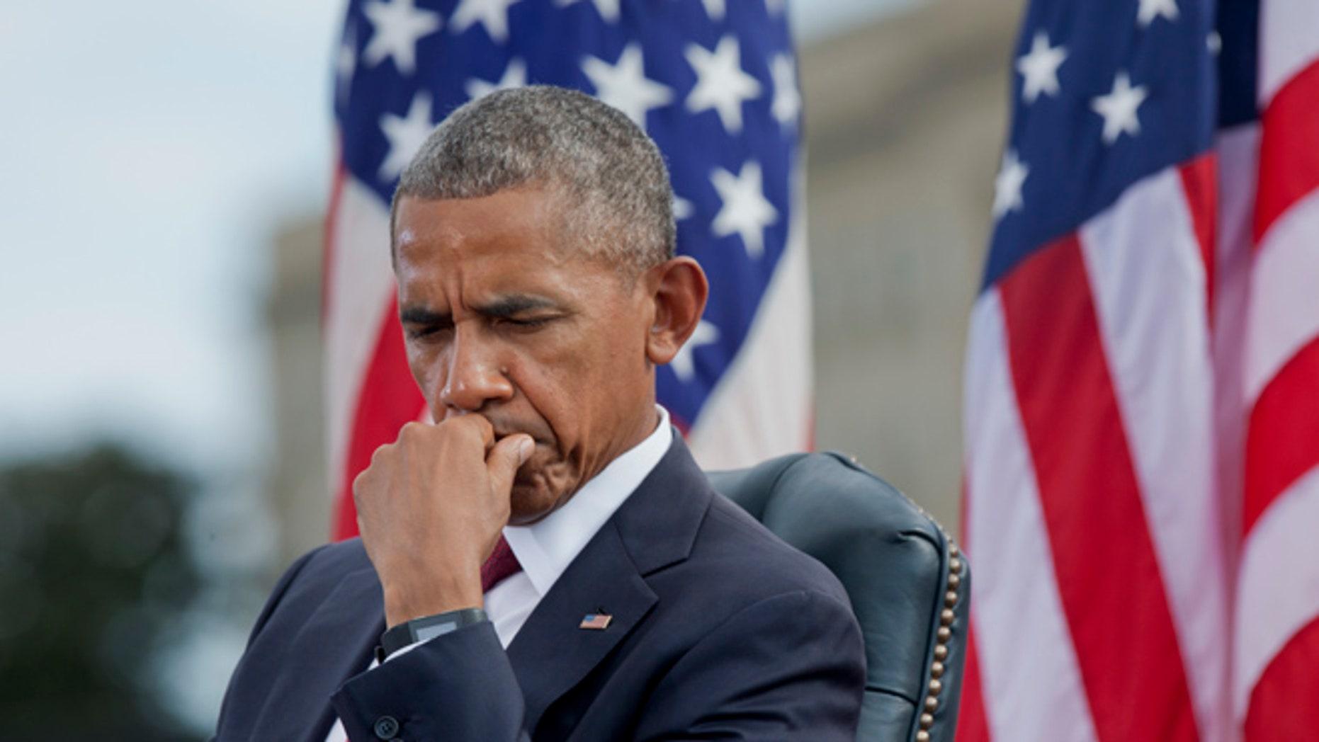 Sept. 11, 2016: President Obama at a Pentagon ceremony to commemorate the 15th anniversary of the 9/11 terrorist attacks, Arlington, Va. (AP)