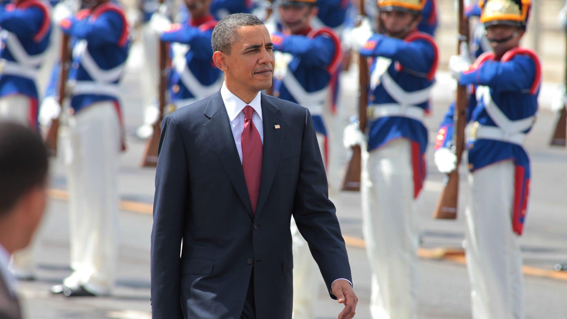 President Obama arrives to Planalto palace in Brasilia, Brazil, Saturday March 19, 2011. (AP)