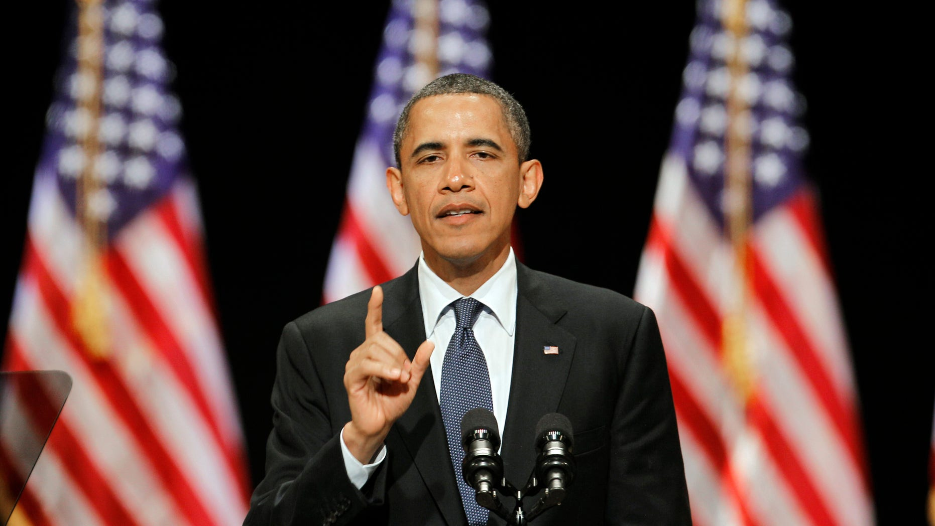 In a June 13, 2011 file photo, President Barack Obama speaks to a group of supporters at a Miami fundraiser, where he launched his bid for reelection in Florida. (AP)