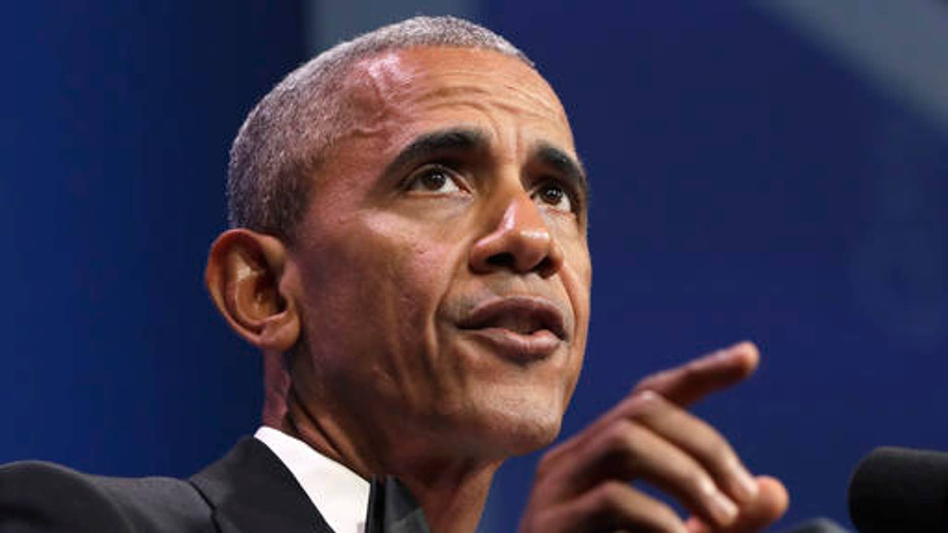 President Barack Obama speaks at the 39th Annual Congressional Hispanic Caucus Institute Public Policy Conference and awards gala, Thursday, Sept. 15, 2016, in Washington. (AP Photo/Jacquelyn Martin)