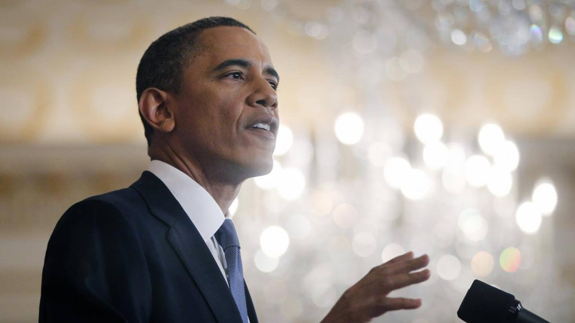 President Barack Obama delivers a policy address on events in the Middle East at the State Department in Washington, Thursday, May 19, 2011. (AP Photo/Charles Dharapak)