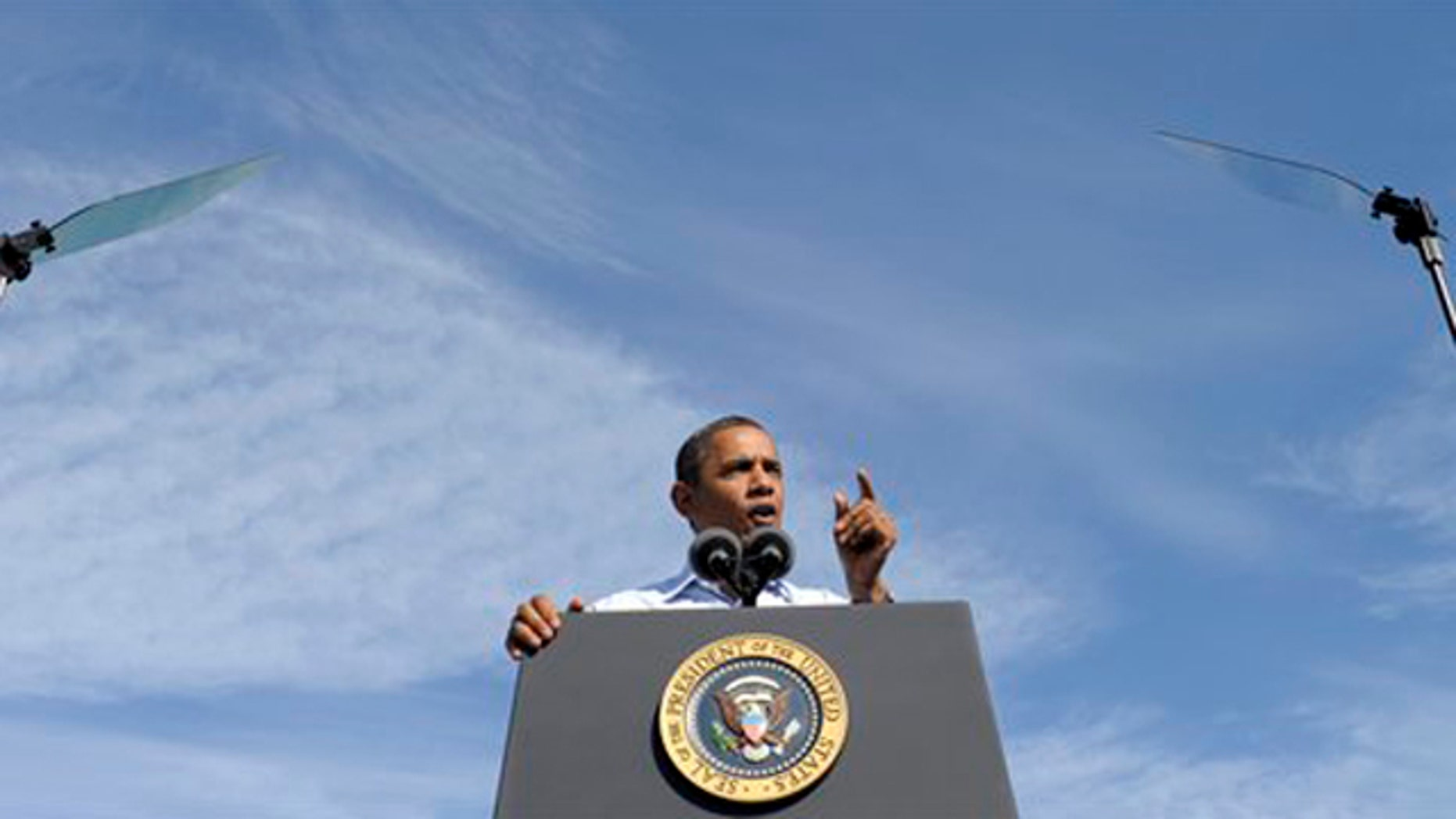Oct. 17, 2011: President Obama speaks at Asheville Regional Airport in Fletcher, N.C., at the start of his three-day bus tour.