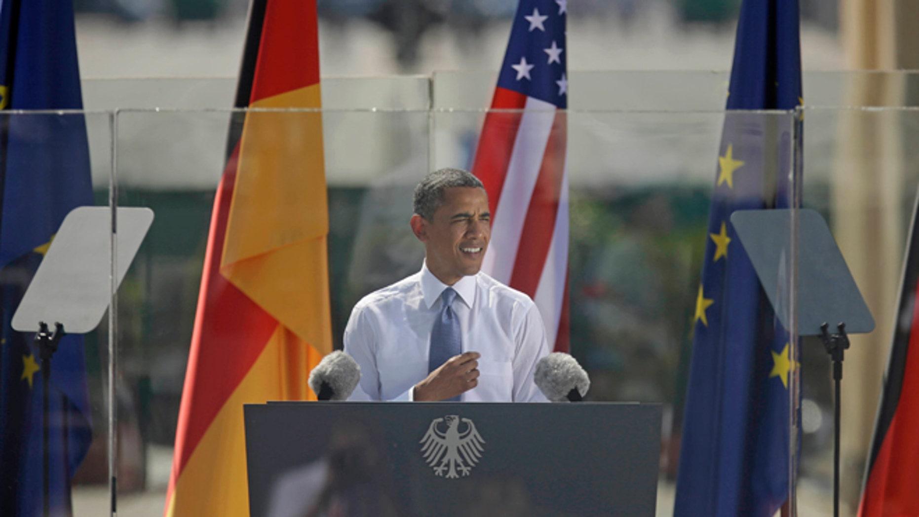 June 19, 2013: President Obama speaks in front of the iconic Brandenburg Gate in Berlin, Germany.