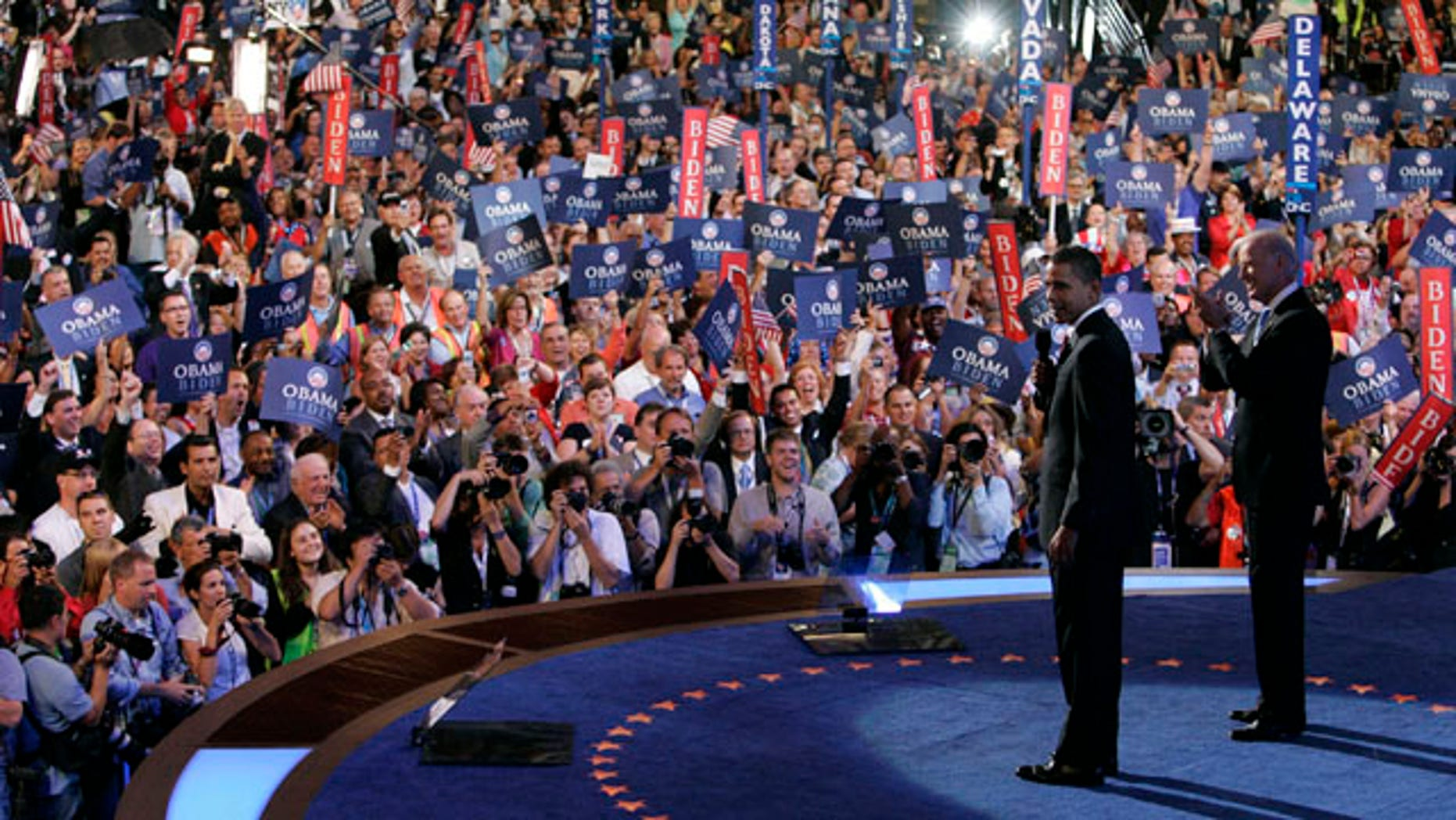 Aug. 27, 2008: Then-Democratic presidential nominee Barack Obama stands on stage with then-Sen. Joe Biden at the Democratic National Convention in Denver.