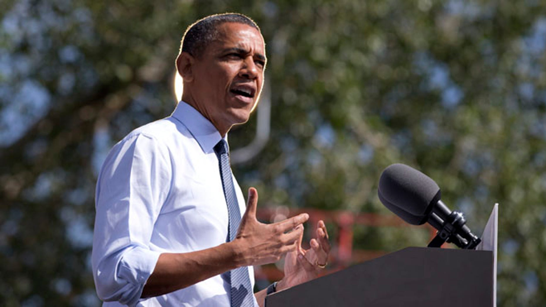FILE: Sept. 13, 2012: President Obama speaks during a campaign event in Golden,  Colo.