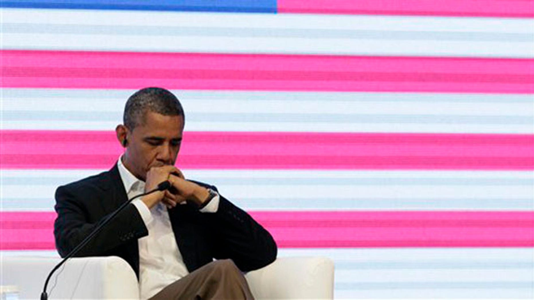 April 14, 2012: President Obama is shown at the CEO Summit of the Americas in Cartagena, Colombia.