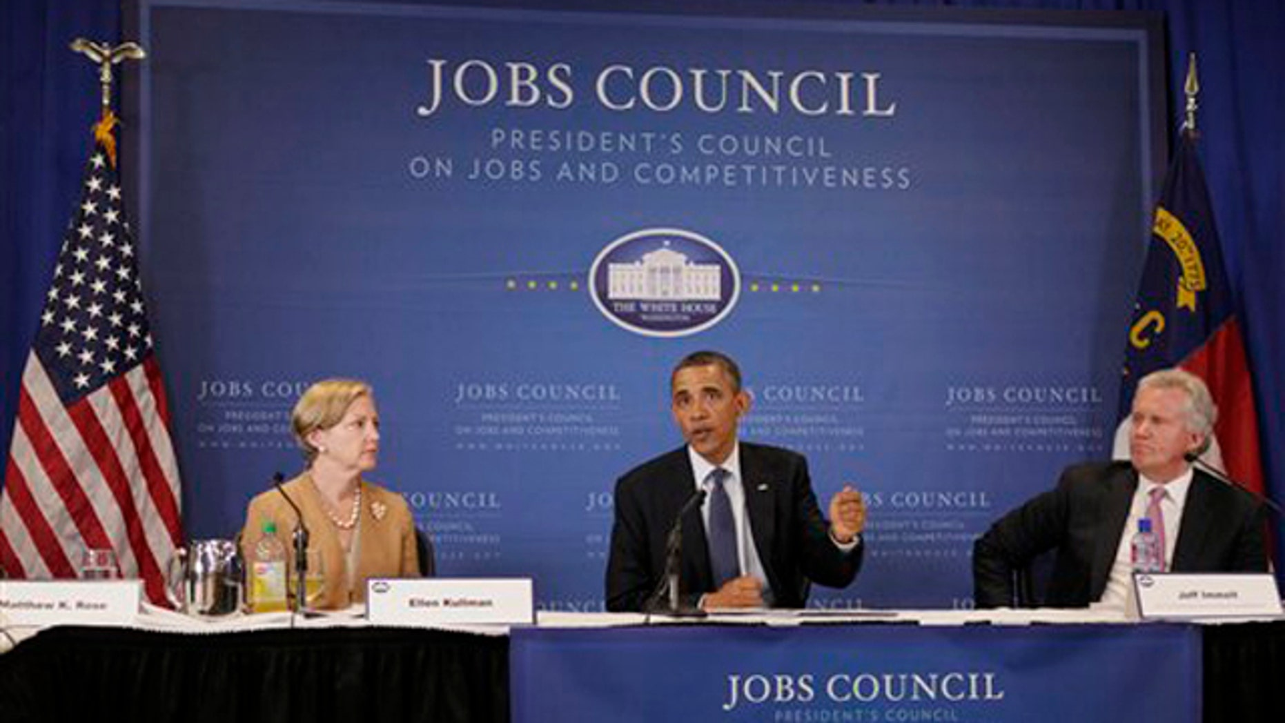 President Obama speaks at the beginning of a meeting with the Jobs and Competitiveness Council June 13 in Durham, N.C.