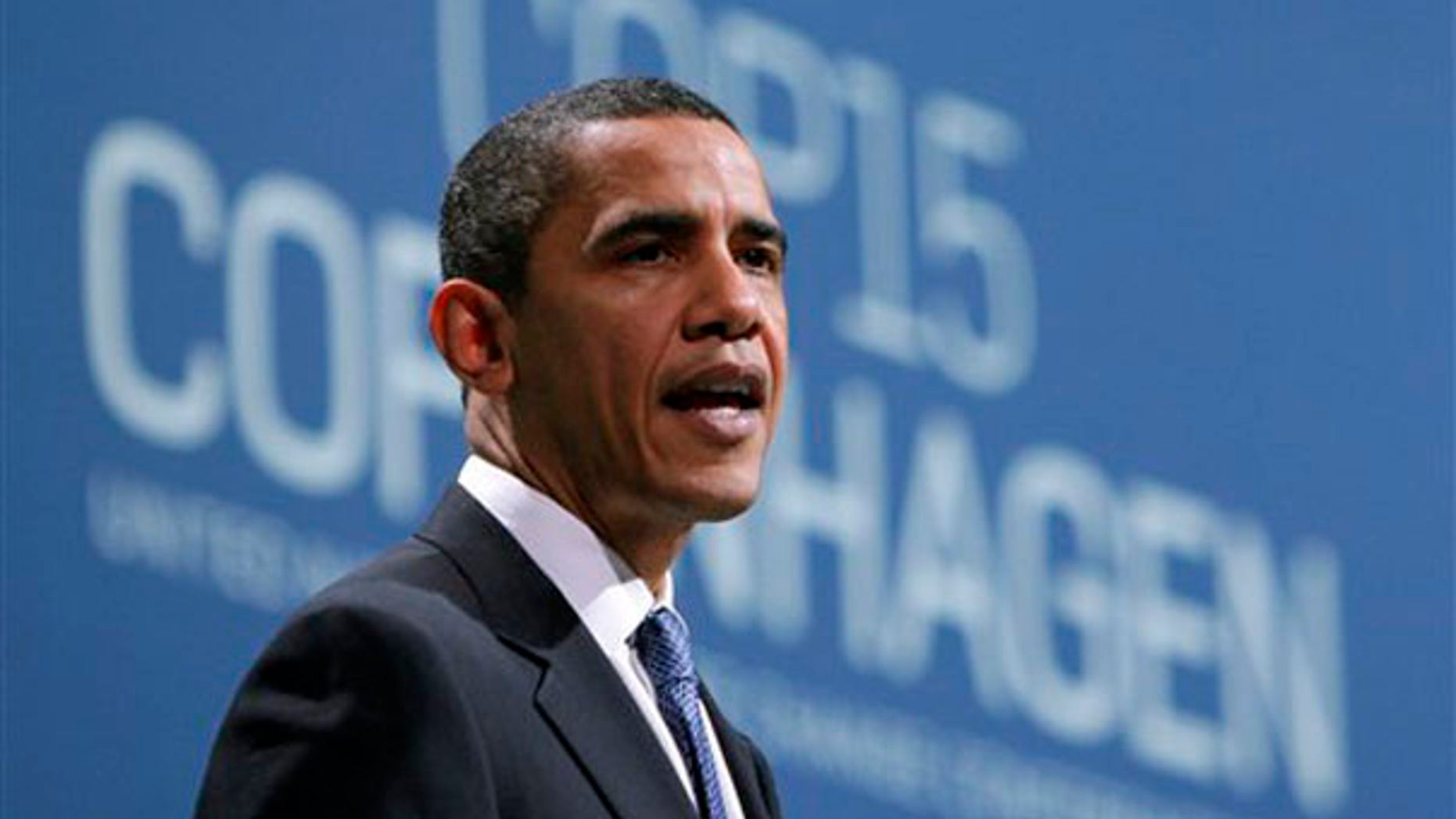 President Obama speaks during the plenary session at the climate summit in Copenhagen, Denmark, Dec. 18. (AP Photo)