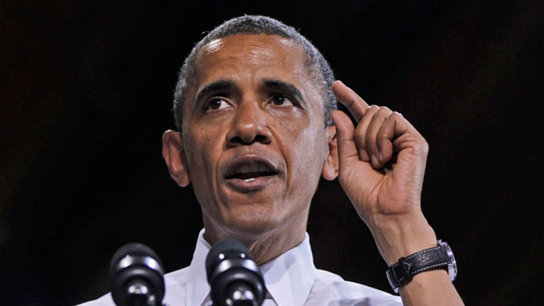 May 24, 2012: President Obama speaks during a campaign rally in Des Moines, Iowa.