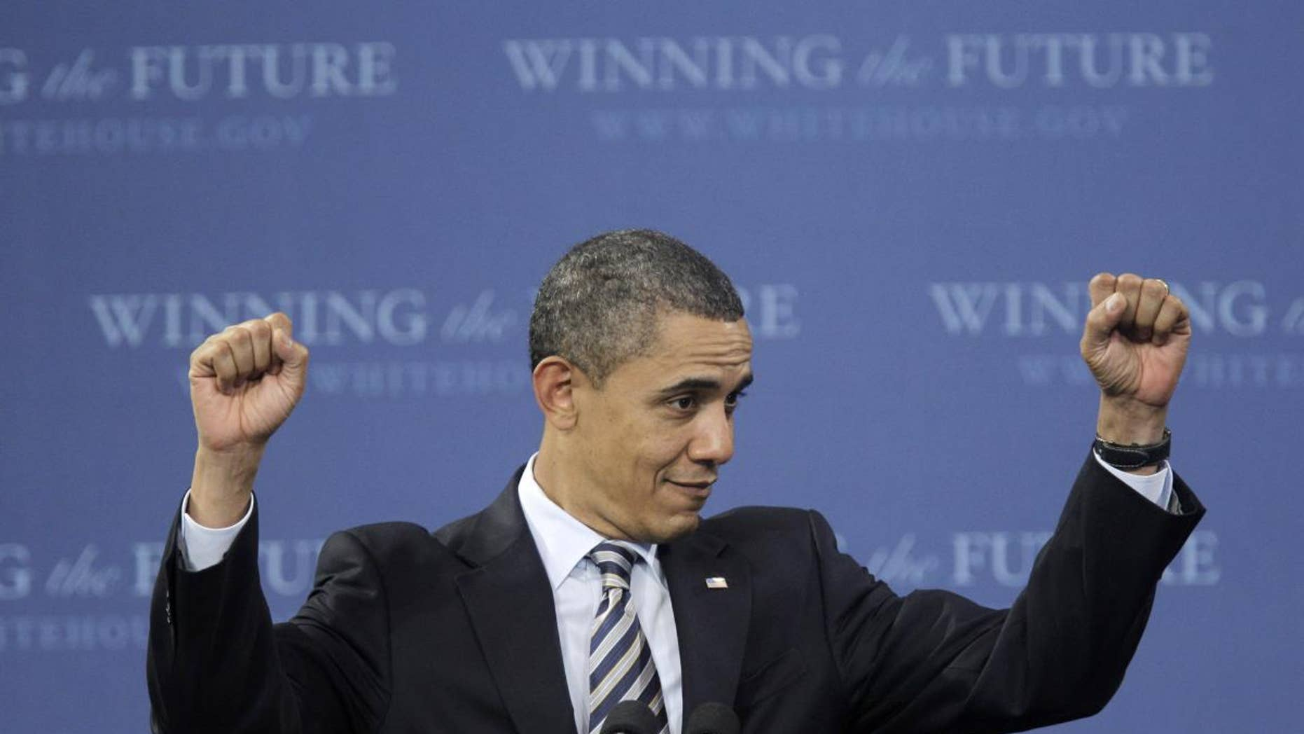 President Barack Obama gestures during his speech at Northern Michigan University in Marquette, Mich., Thursday, Feb. 10, 2011. (AP Photo/Carlos Osorio)