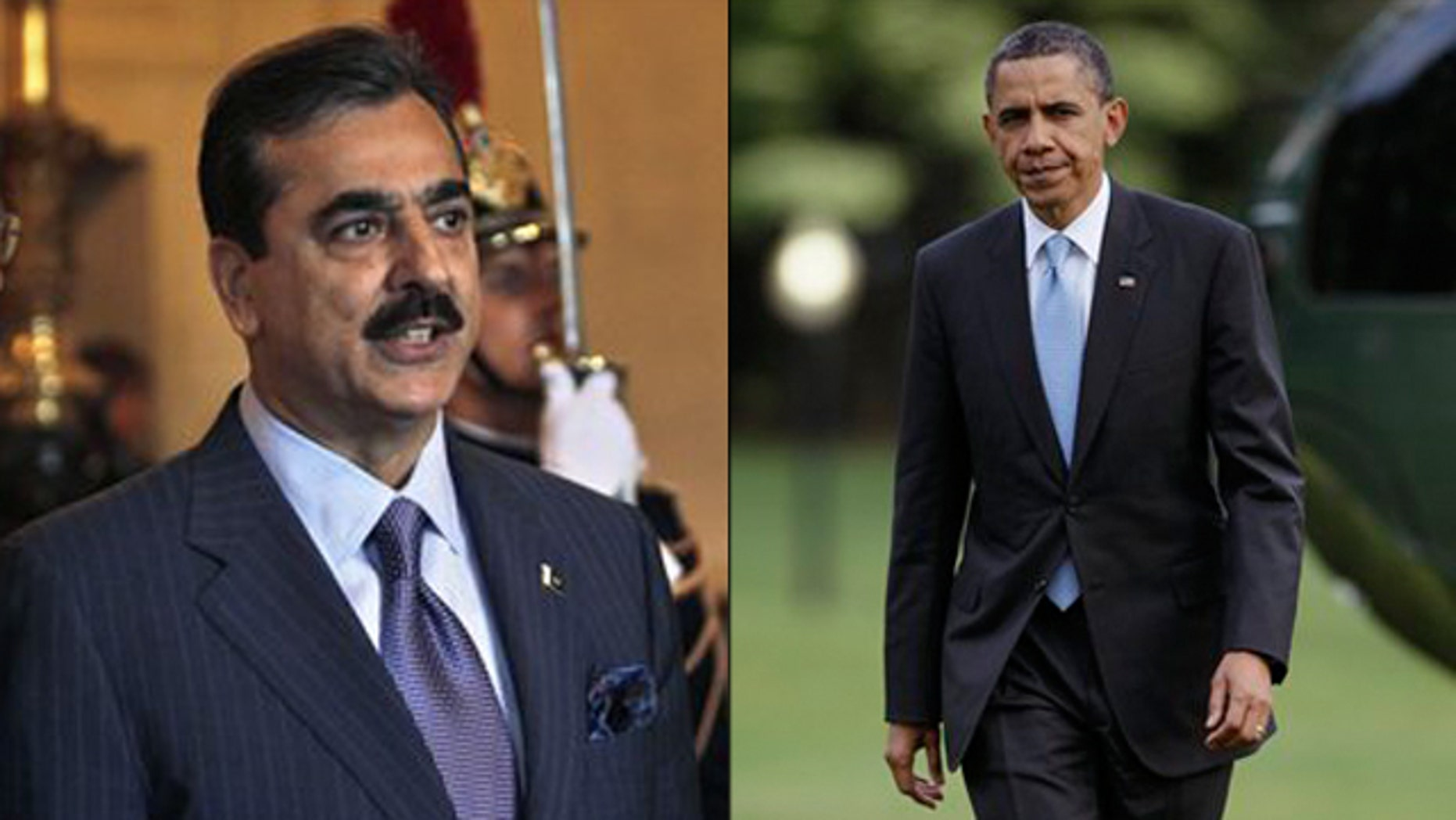 Shown here are President Obama, right, and Pakistani Prime Minister Yousuf Raza Gilani, left.