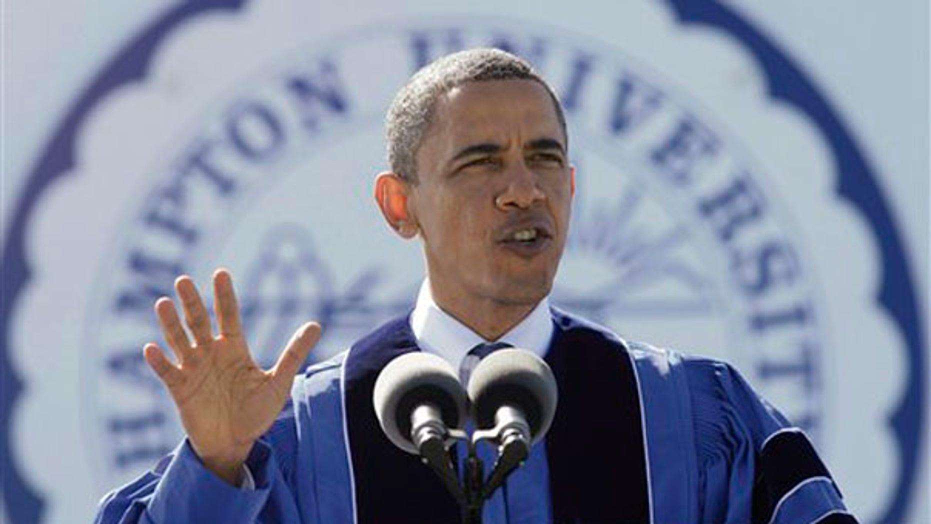 President Obama speaks to the graduating class at Hampton University in Hampton, Va., May 9. (AP Photo)