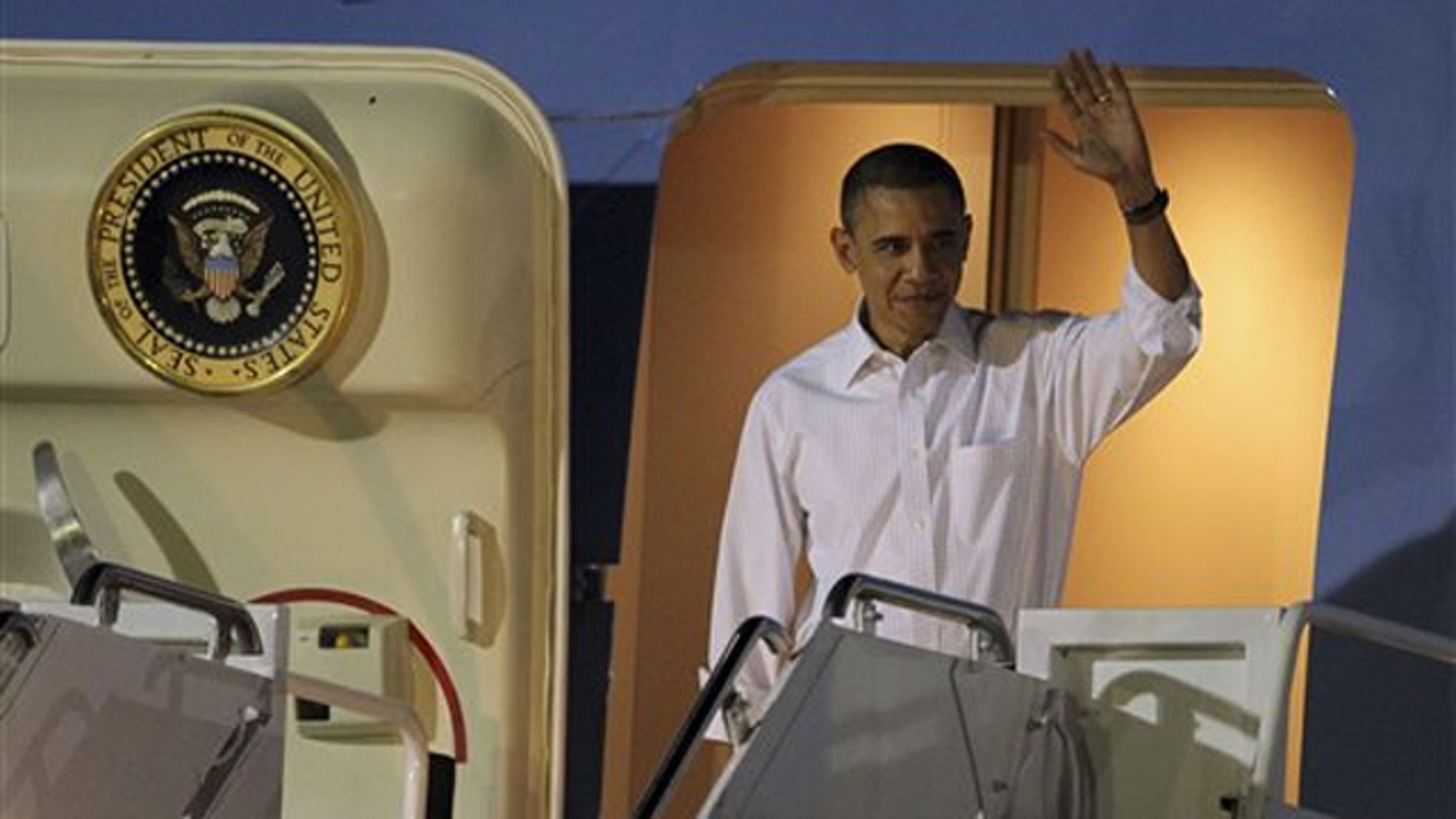 President Obama arrives at Hickam Air Force base in Honolulu, Hawaii, on Dec. 22.