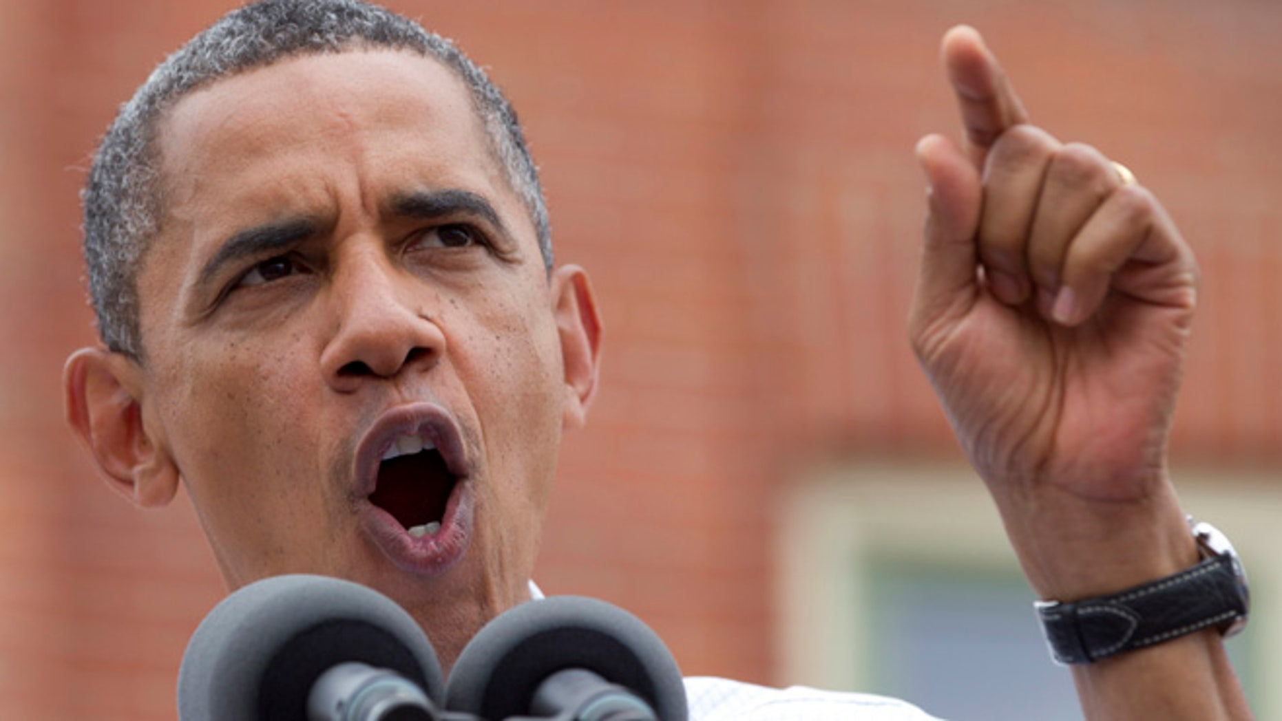 Aug. 15, 2012: President Obama speaks at a campaign event at the Alliant Energy Amphitheater in Dubuque, Iowa.