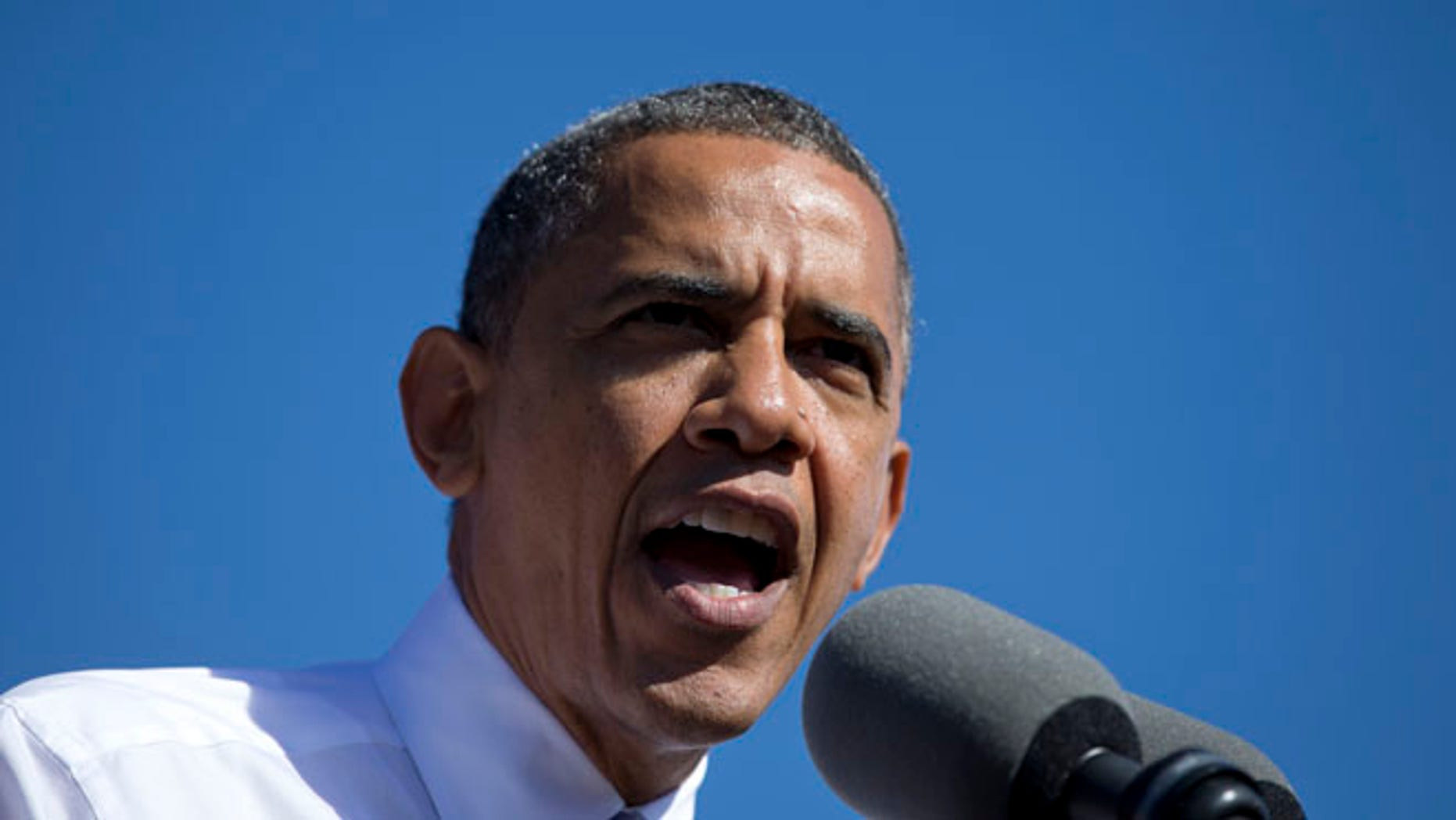 President Barack Obama speaks at a campaign event at Veteran's Memorial Park, Thursday, Oct. 18, 2012, in Manchester, N.H. (AP Photo/Carolyn Kaster)
