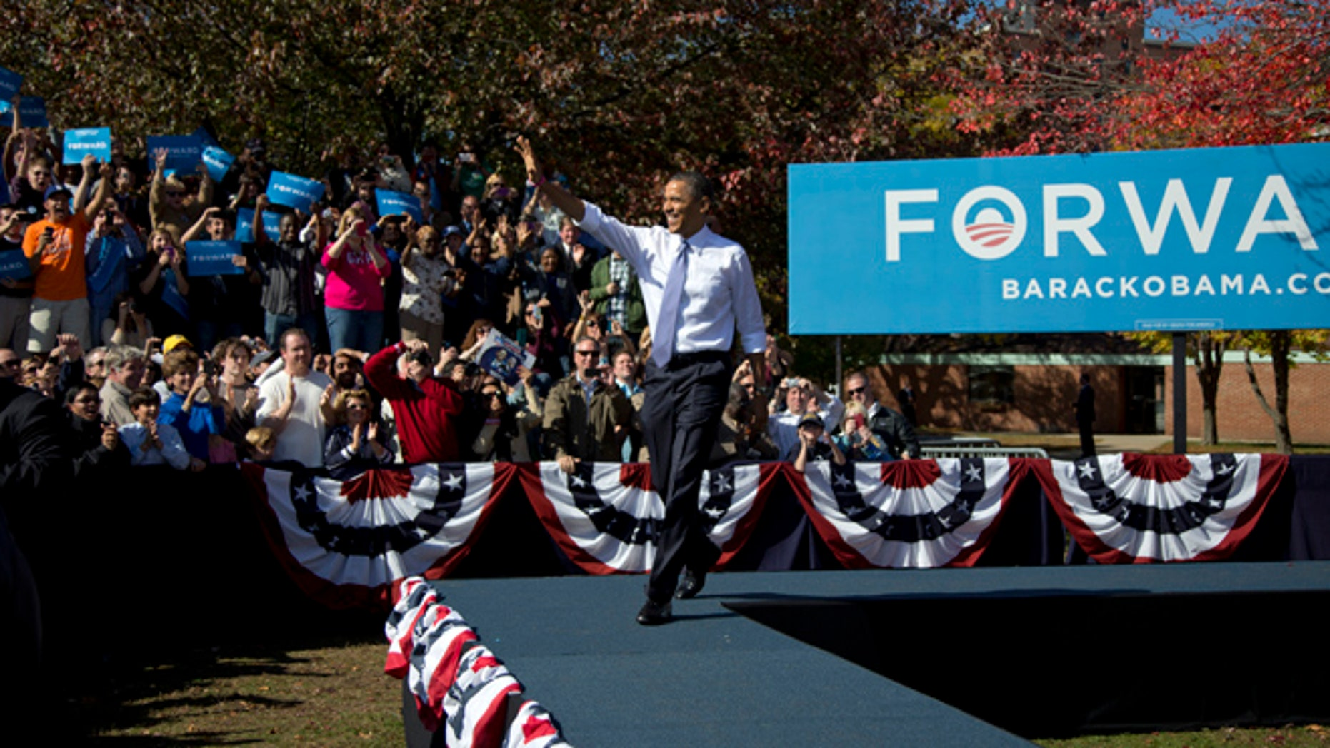 Oct. 18, 2012: President Obama arrives to speak at a campaign event in Manchester, N.H.