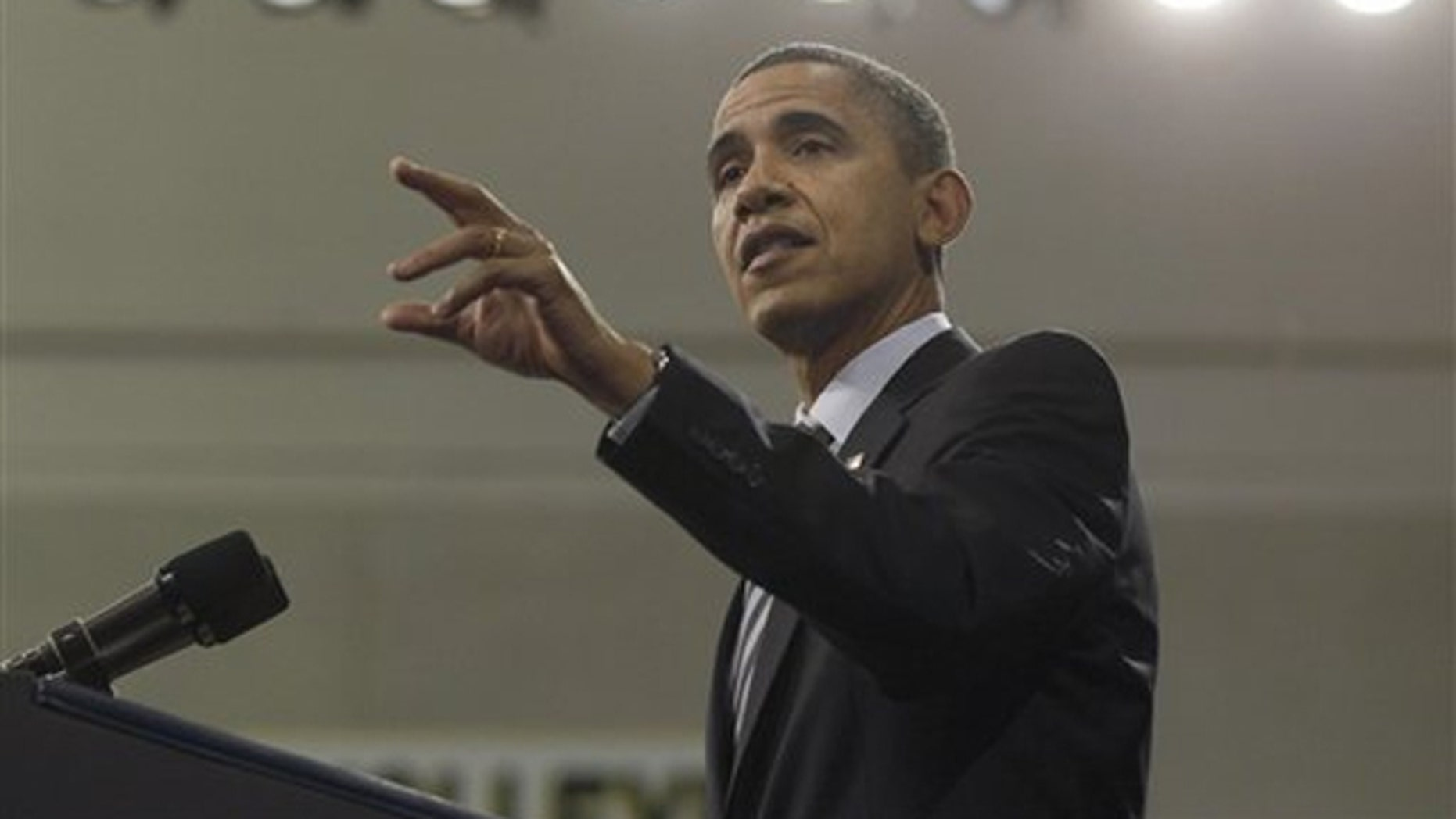President Obama speaks at Northern Michigan University in Marquette, Mich., Feb. 10.