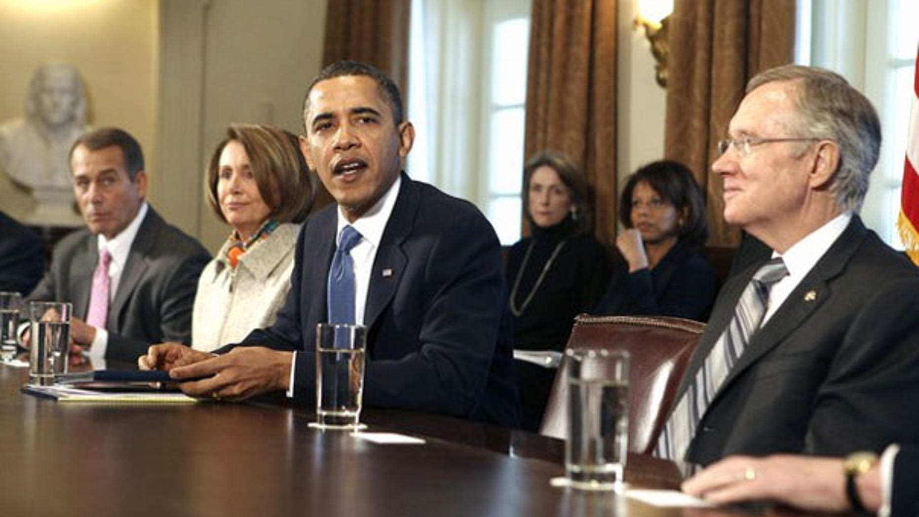 President Obama talks with congressional leaders about the economy in the Cabinet Room of the White House Feb. 9. (Reuters Photo)