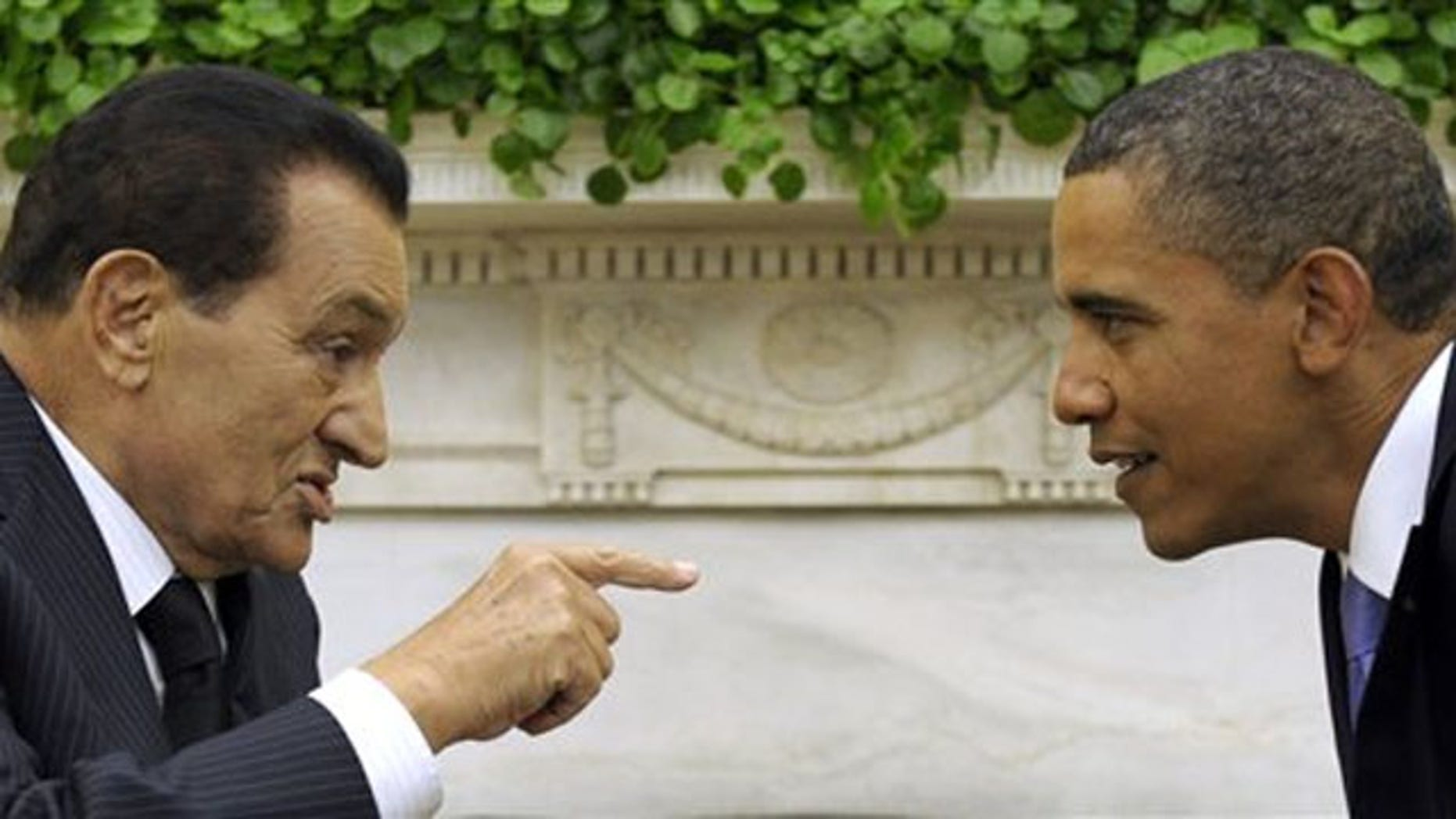 In this Sept. 1, 2010, file photo, President Obama meets with Egyptian President Hosni Mubarak, in the Oval Office of the White House in Washington.