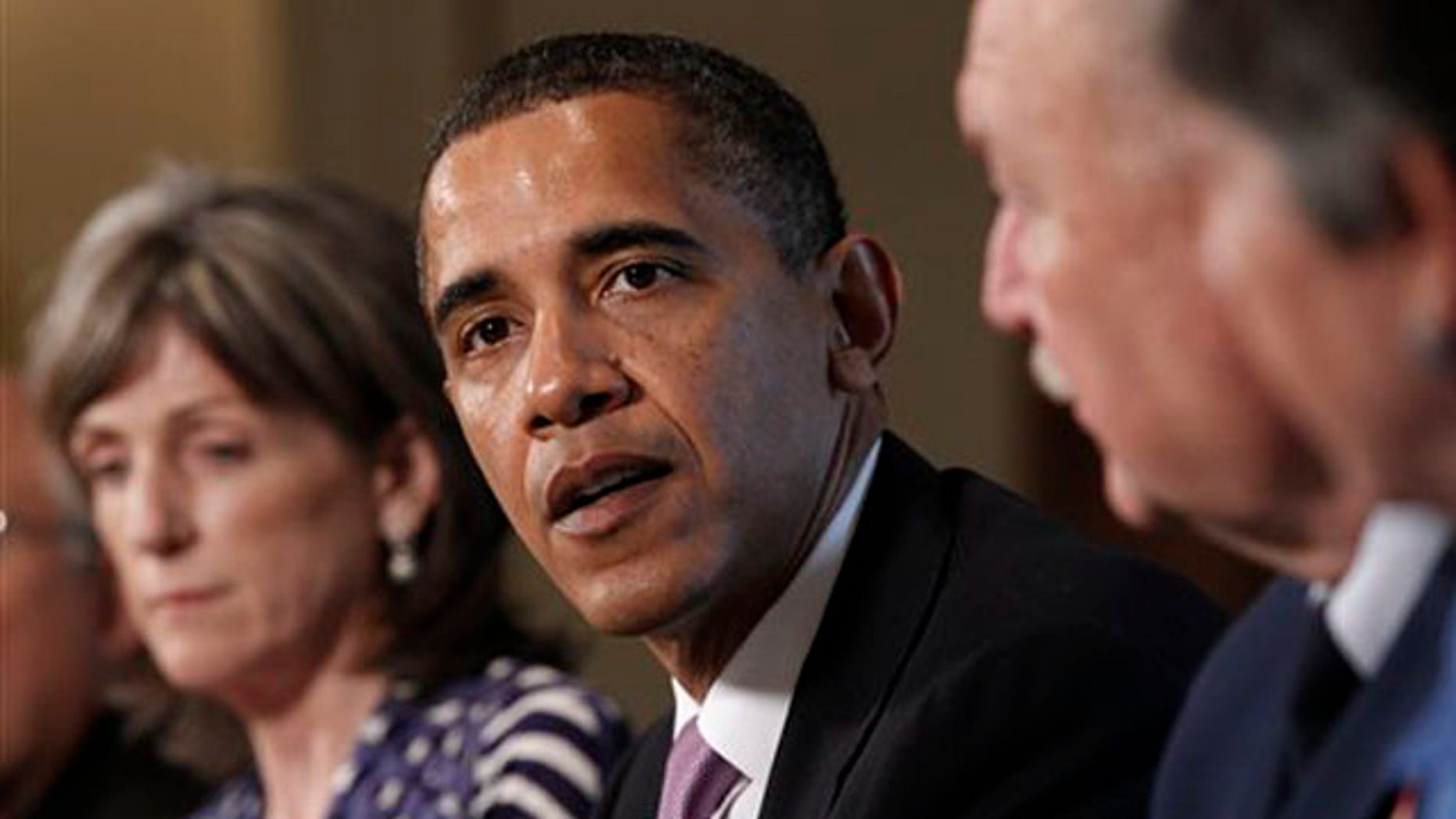 President Obama meets with members of his Cabinet to discuss the response to the BP oil spill June 7 in the White House. (AP Photo)