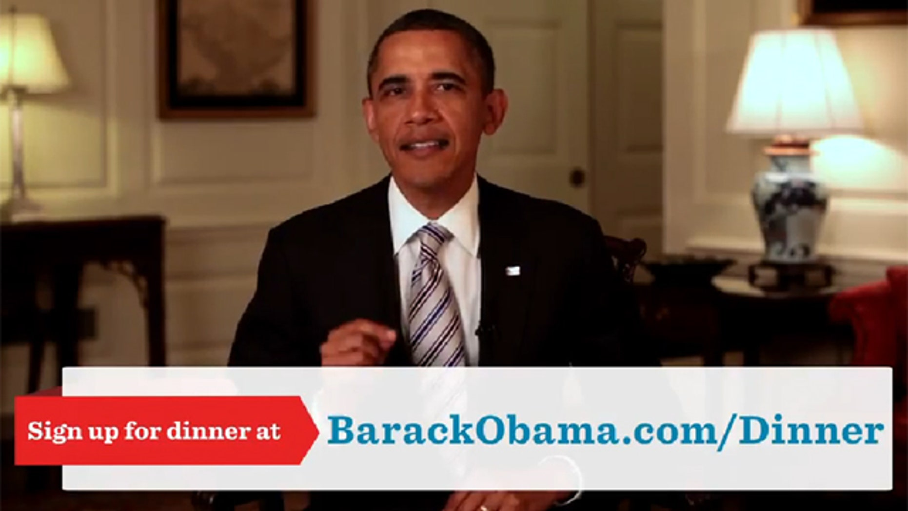 Shown here is an image from a recent campaign ad featuring President Obama.