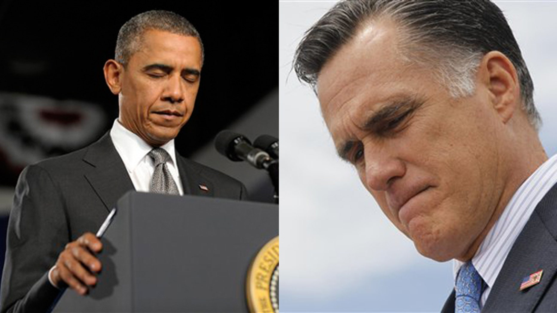 July 20, 2012: President Obama is shown in Fort Myers, Fla., while Mitt Romney is shown in Bow, N.H., addressing the Colorado mass shooting.