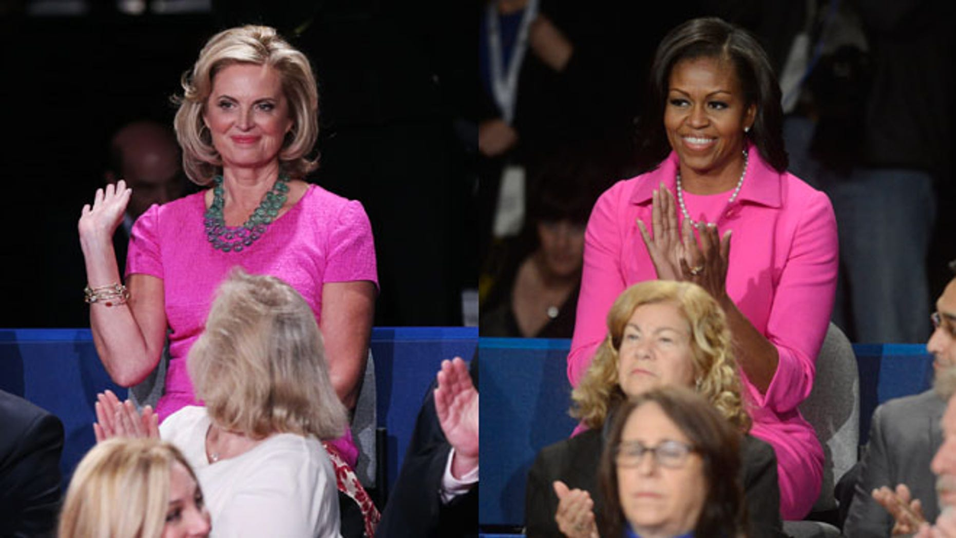 Shown here are Ann Romney and Michelle Obama during the second presidential debate Oct. 16, 2012, in Hempstead, N.Y.