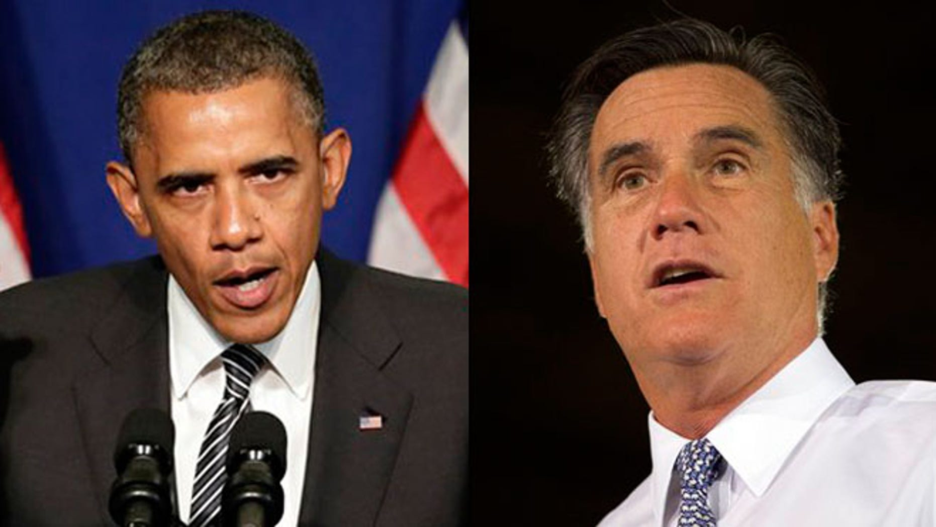 President Obama and Mitt Romney are shown here at campaign events on June 12, 2012.