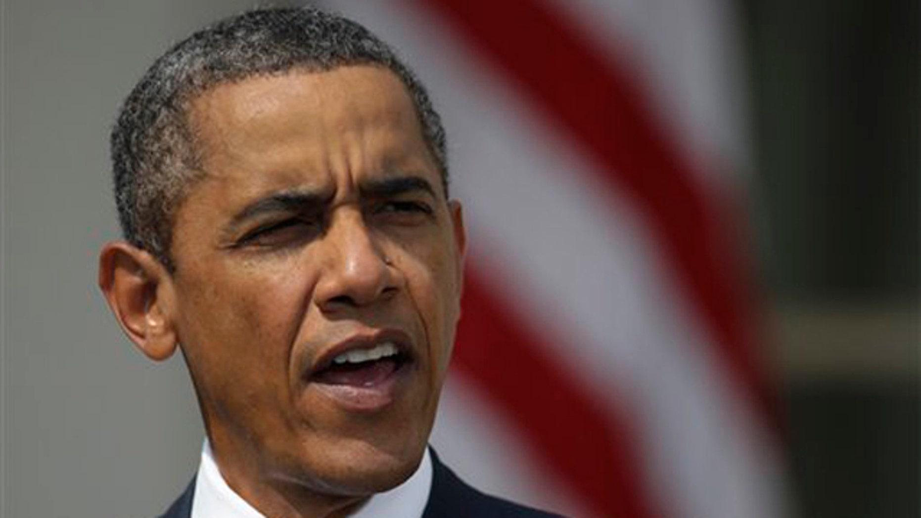 Monday: President Obama speaks in the Rose Garden in Washington.