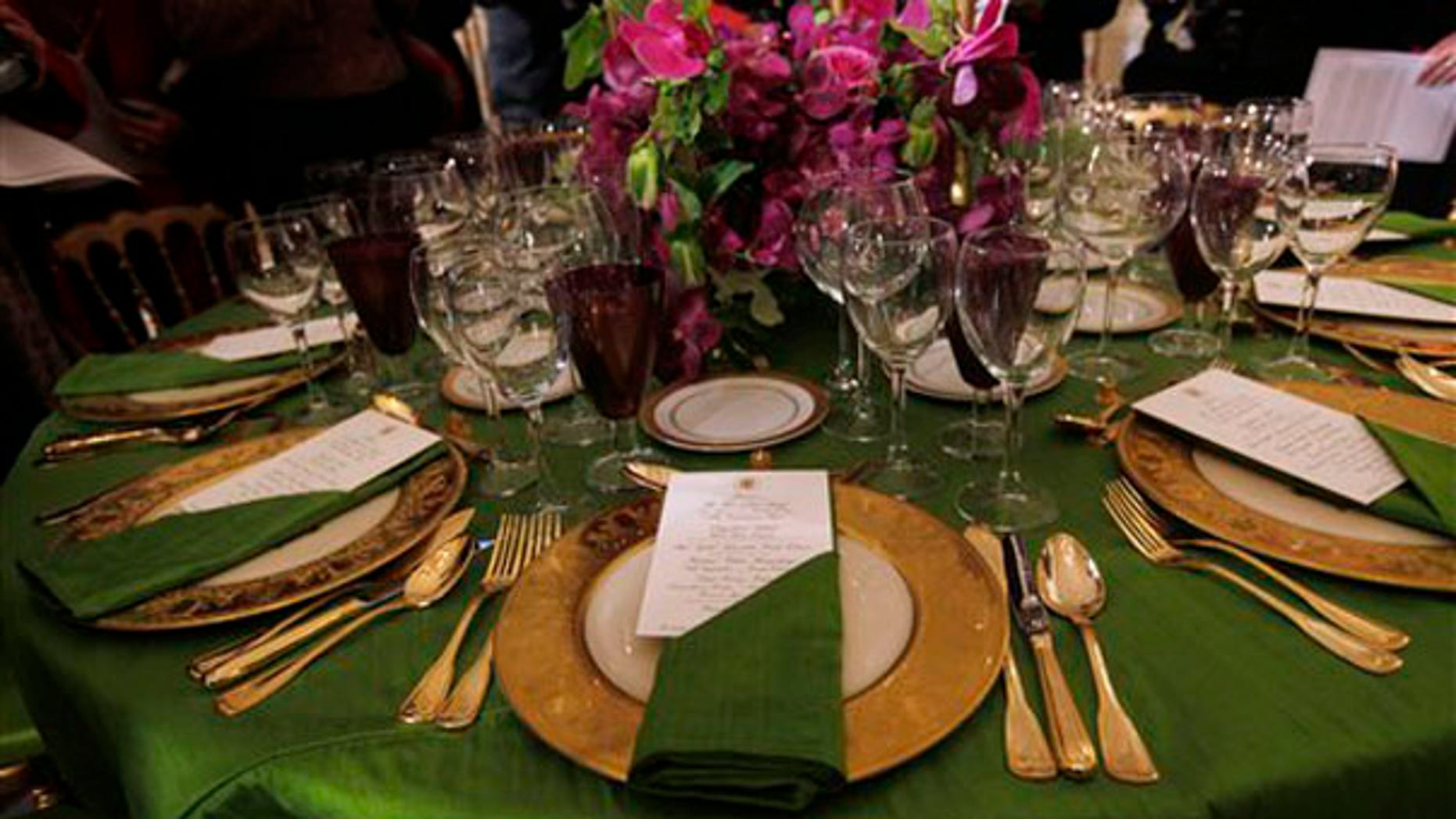 Tuesday: A sample display of a table setting at the state dinner for India Prime Minister Manmohan Singh at the White House. (AP Photo)