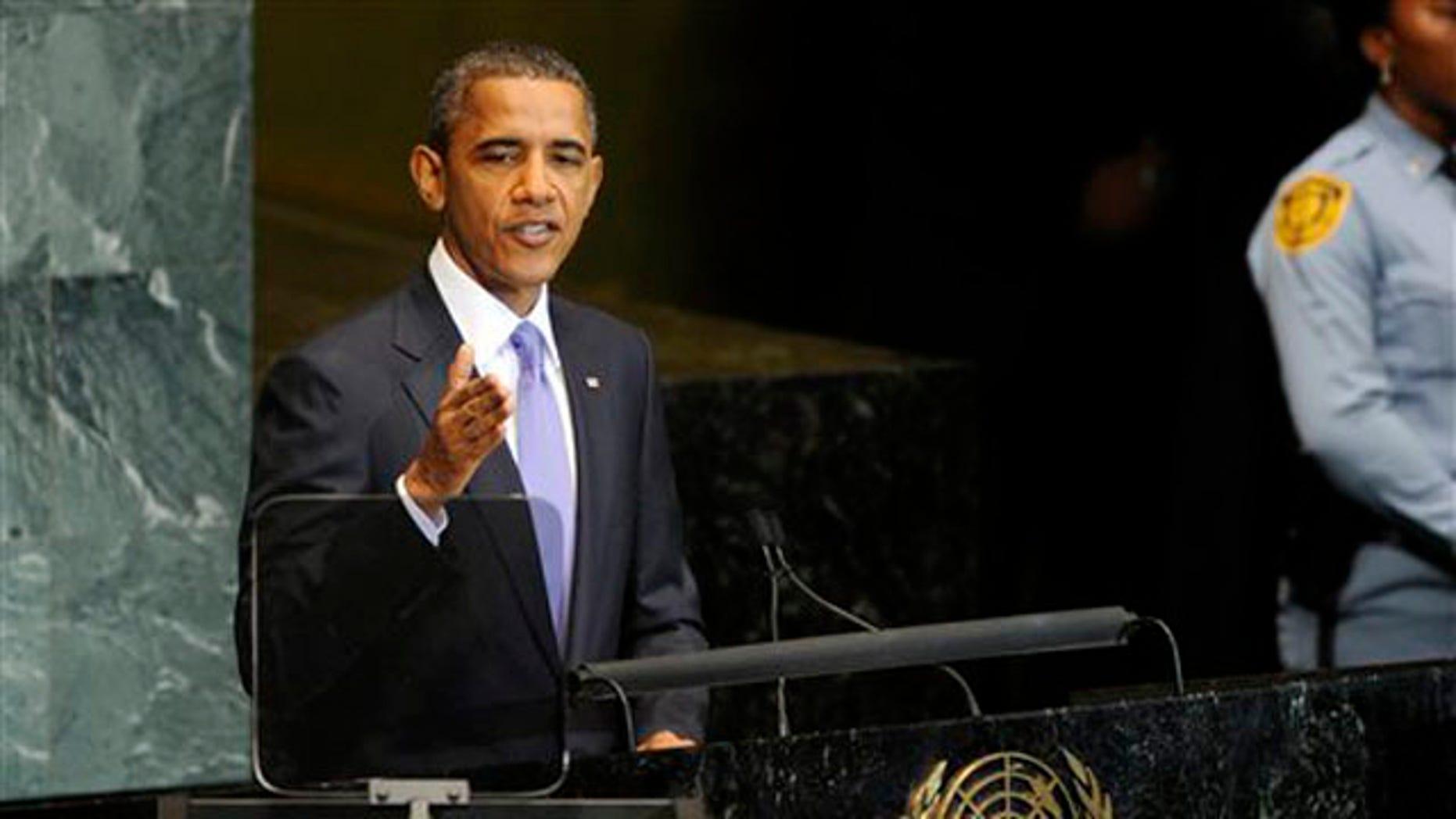 President Obama addresses the United Nations General Assembly Sept. 23. (AP Photo)
