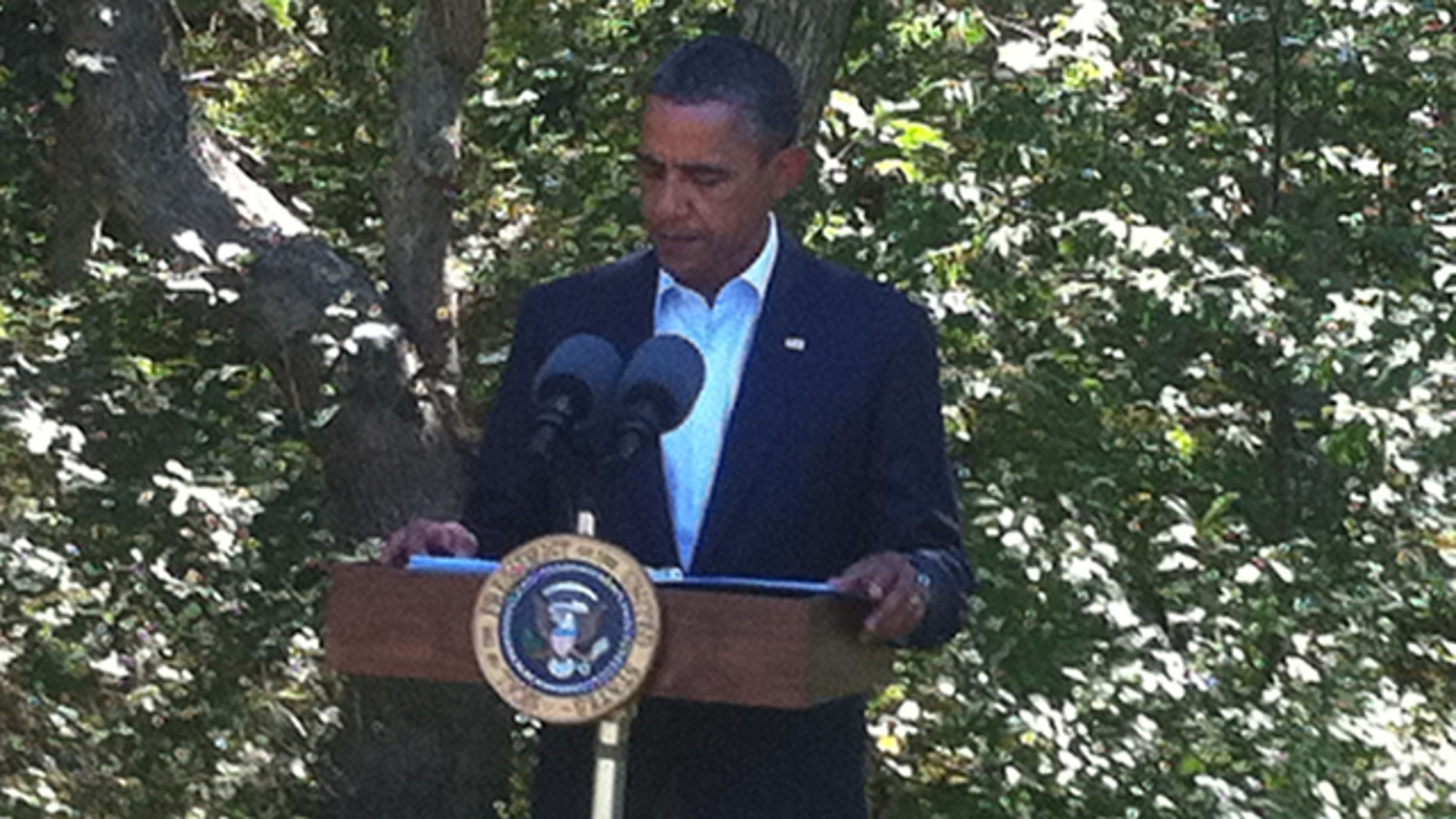 President Obama discusses the developments in Libya in Martha's Vineyard Aug. 22.