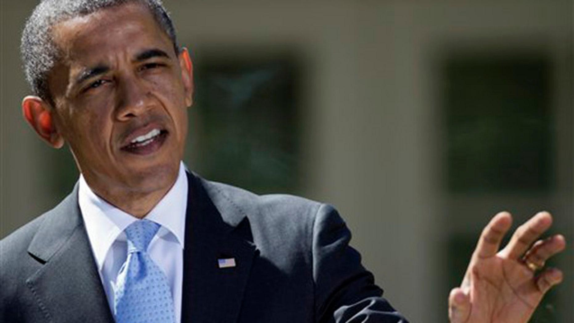 April 2, 2012: President Obama speaks outside the White House.