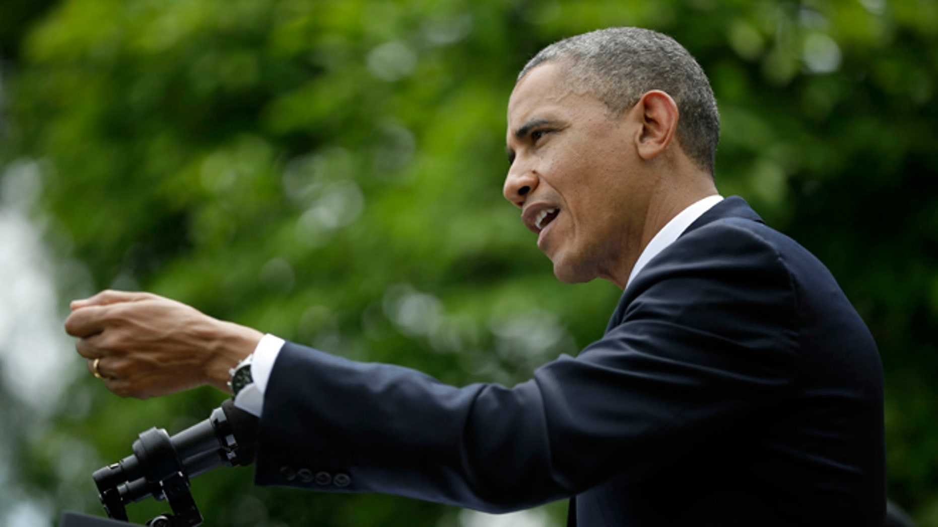 May 16, 2013: President Obama gestures as he answers questions during his joint news conference with Turkey's Prime Minister Recep Tayyip Erdogan in the Rose Garden of the White House.
