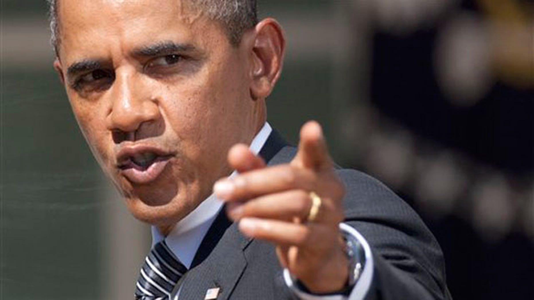 President Obama gestures after a statement in the Rose Garden of the White House in Washington Aug. 31.
