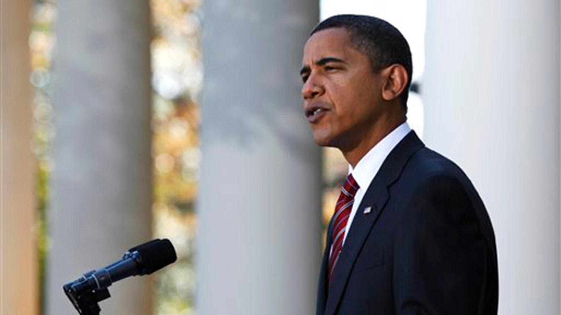 President Obama speaks in the Rose Garden about health care reform Nov. 8. (AP Photo)