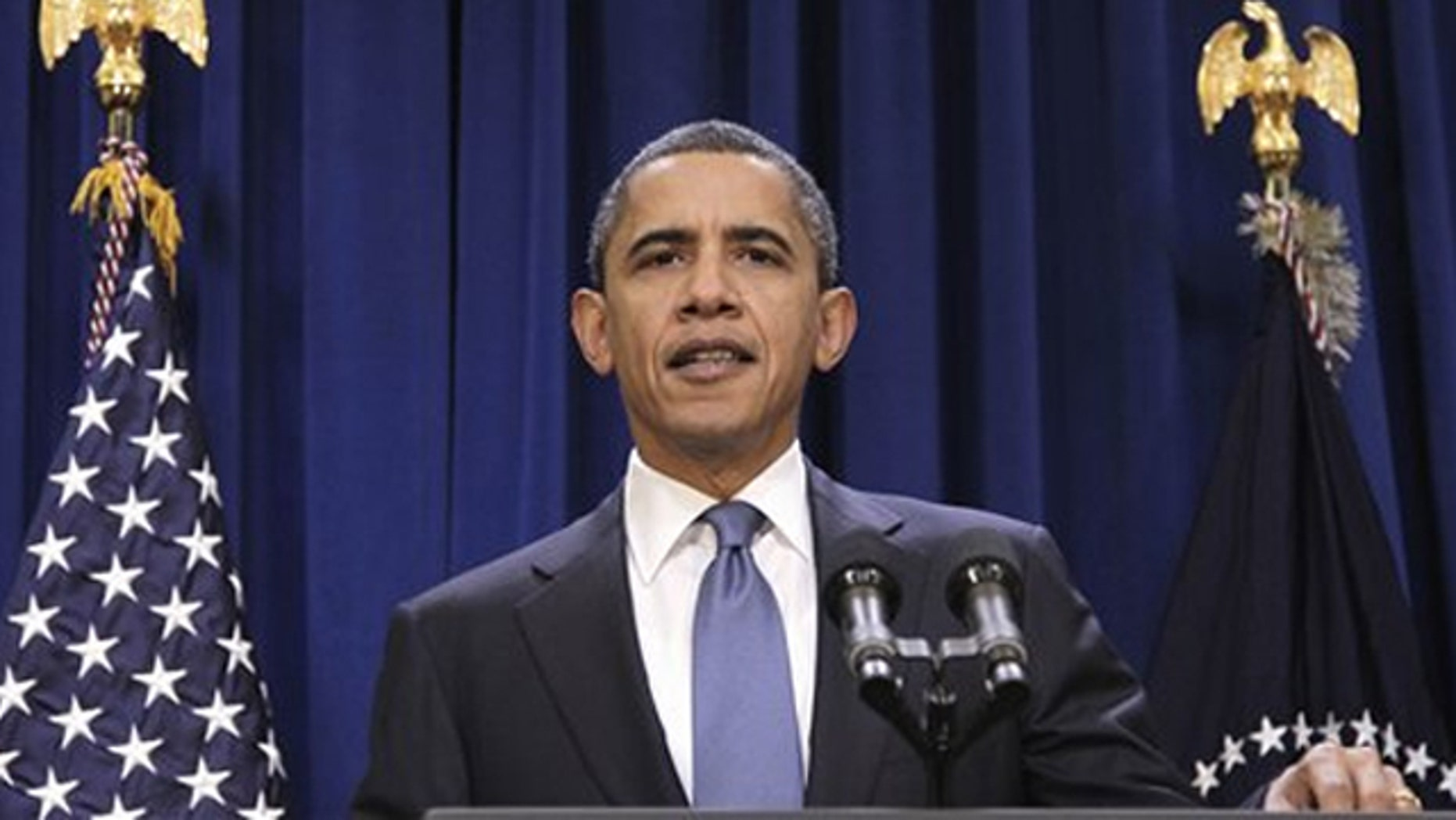 President Obama delivers a statement in the Old Executive Office Building in Washington Nov. 29. (AP Photo)
