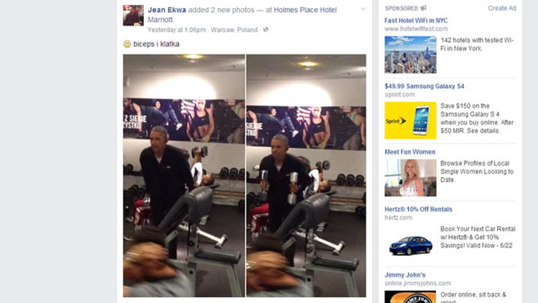 Shown here are images posted to Facebook of President Obama working out in Poland.