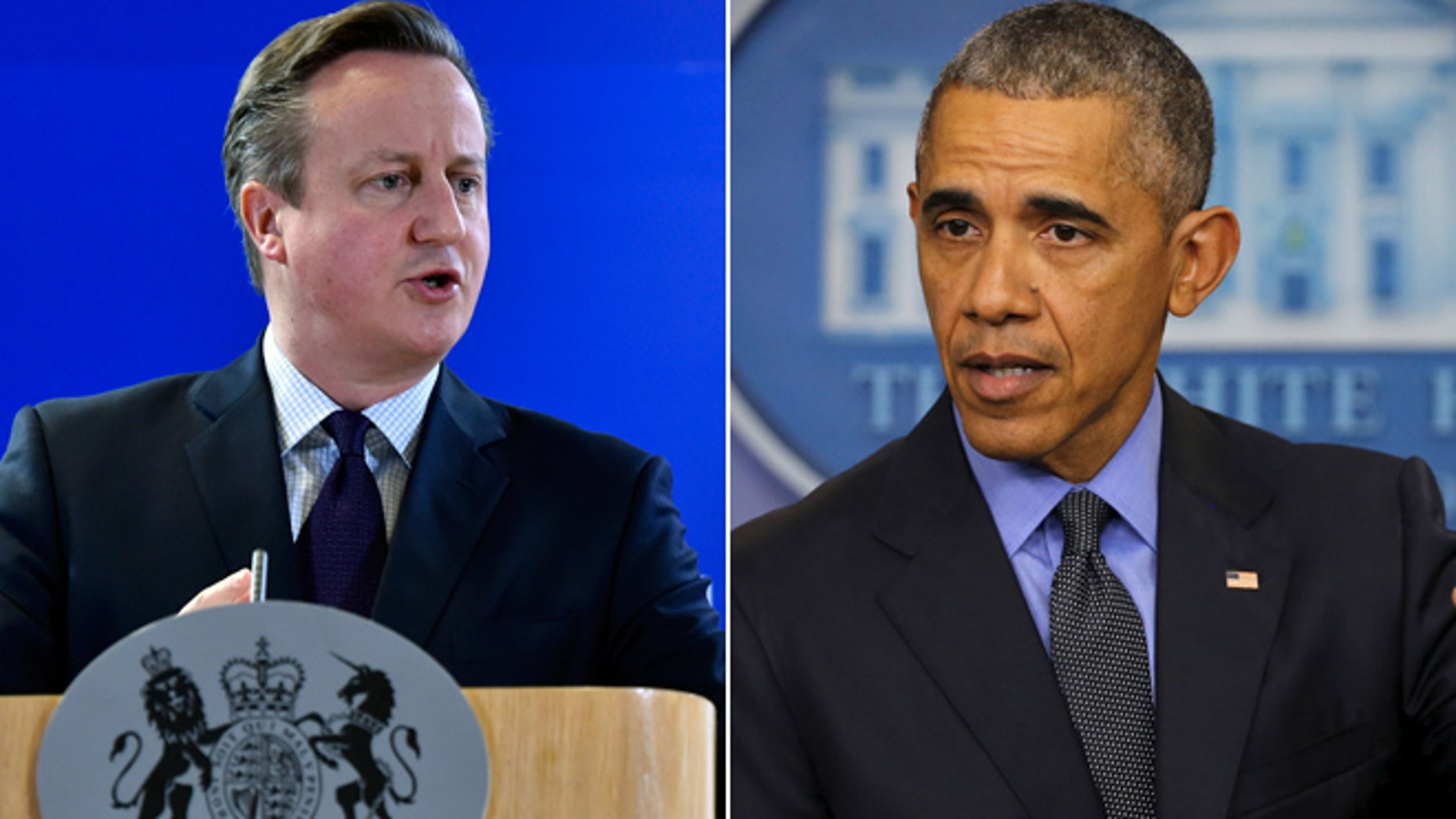 On left, UK Prime Minister David Cameron; on right, President Obama