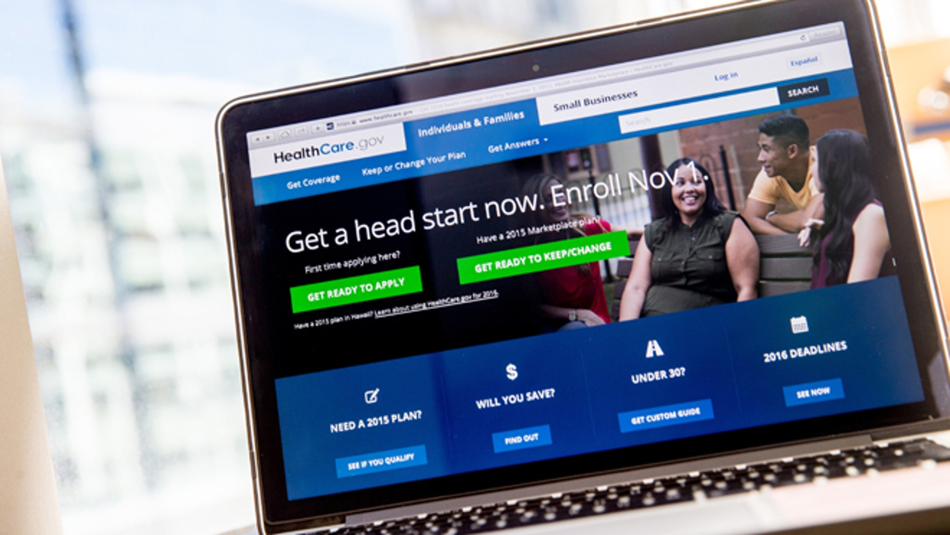 Oct. 6, 2015 file photo, the HealthCare.gov website, where people can buy health insurance, is displayed on a laptop screen in Washington. (AP)