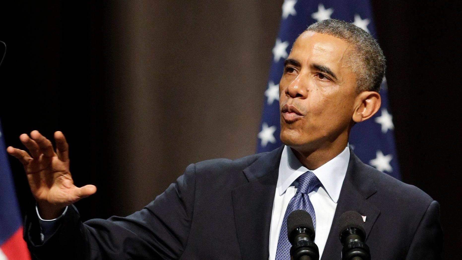 Oct. 2, 2014: President Barack Obama speaks about the economy at Northwestern University in Evanston, Ill.
